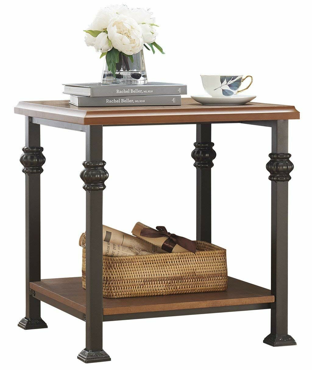 Mollie Wood and Iron Side End Table