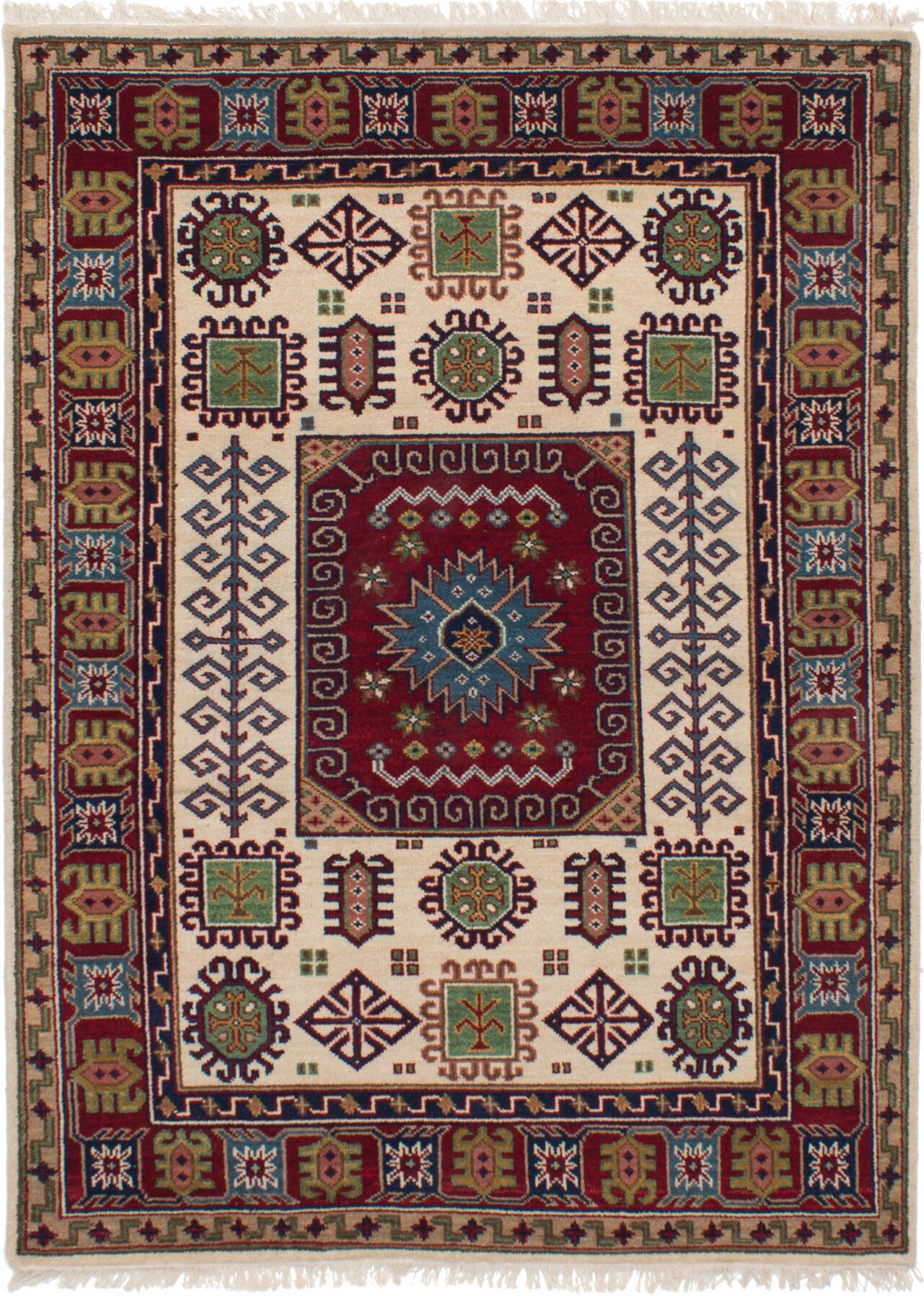 One-of-a-Kind Dominy Hand-Knotted Wool Cream/Dark Red Area Rug