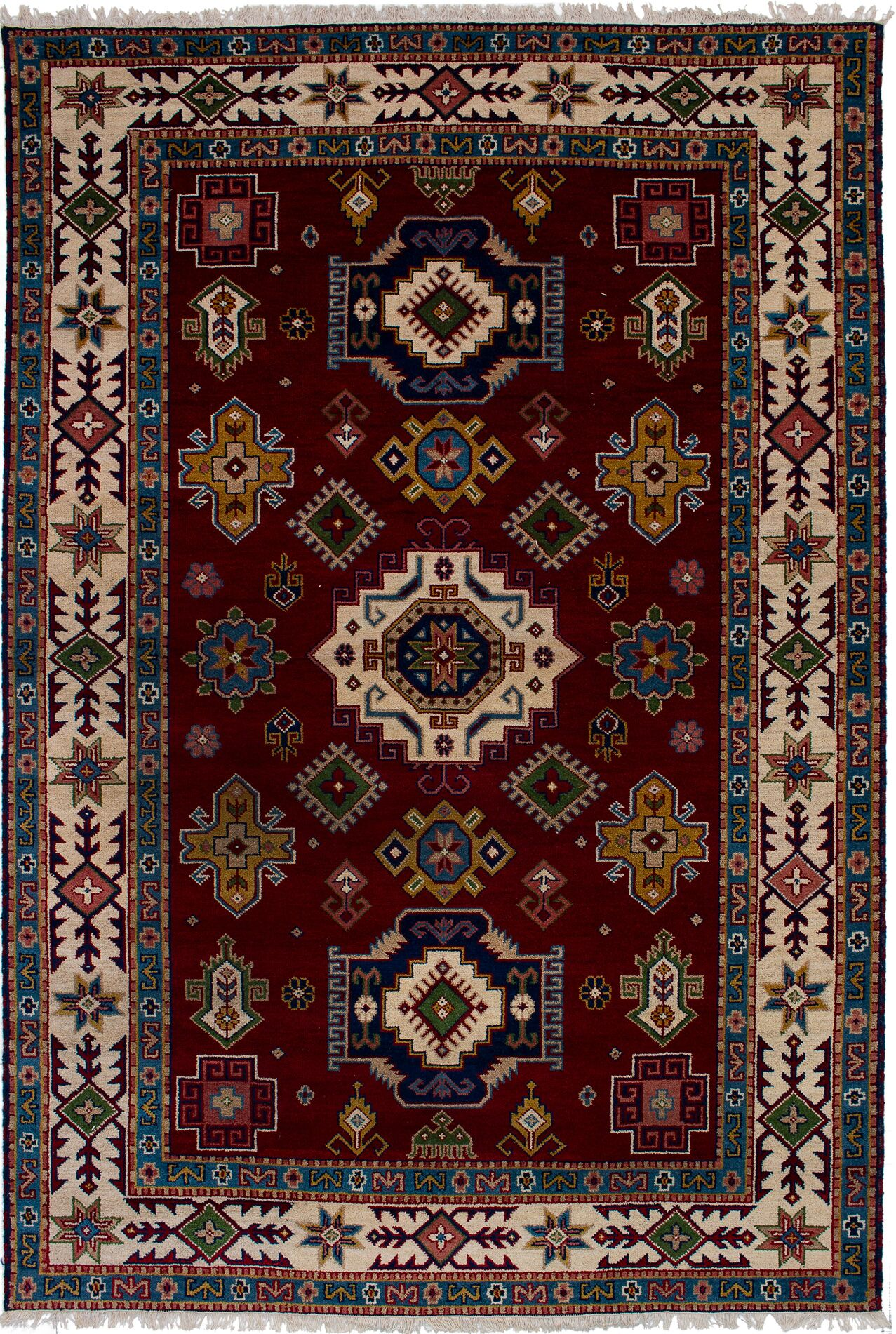 One-of-a-Kind Dominy Hand-Knotted Wool Dark Red Area Rug Rug Size: Rectangle 6'5