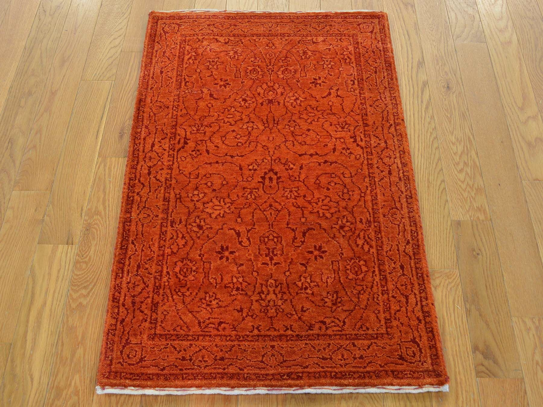 One-of-a-Kind Benally Hand-Knotted Orange Wool/Silk Area Rug
