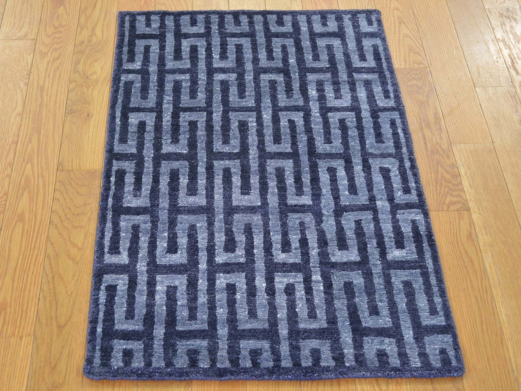 One-of-a-Kind Blade Hand-Knotted Blue Wool/Silk Area Rug