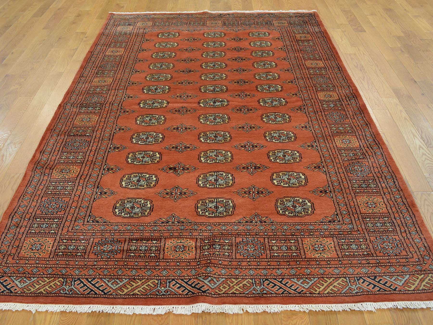 One-of-a-Kind Bluffview Rust Bokara Elephant Feet Design Hand-Knotted Red Wool Area Rug