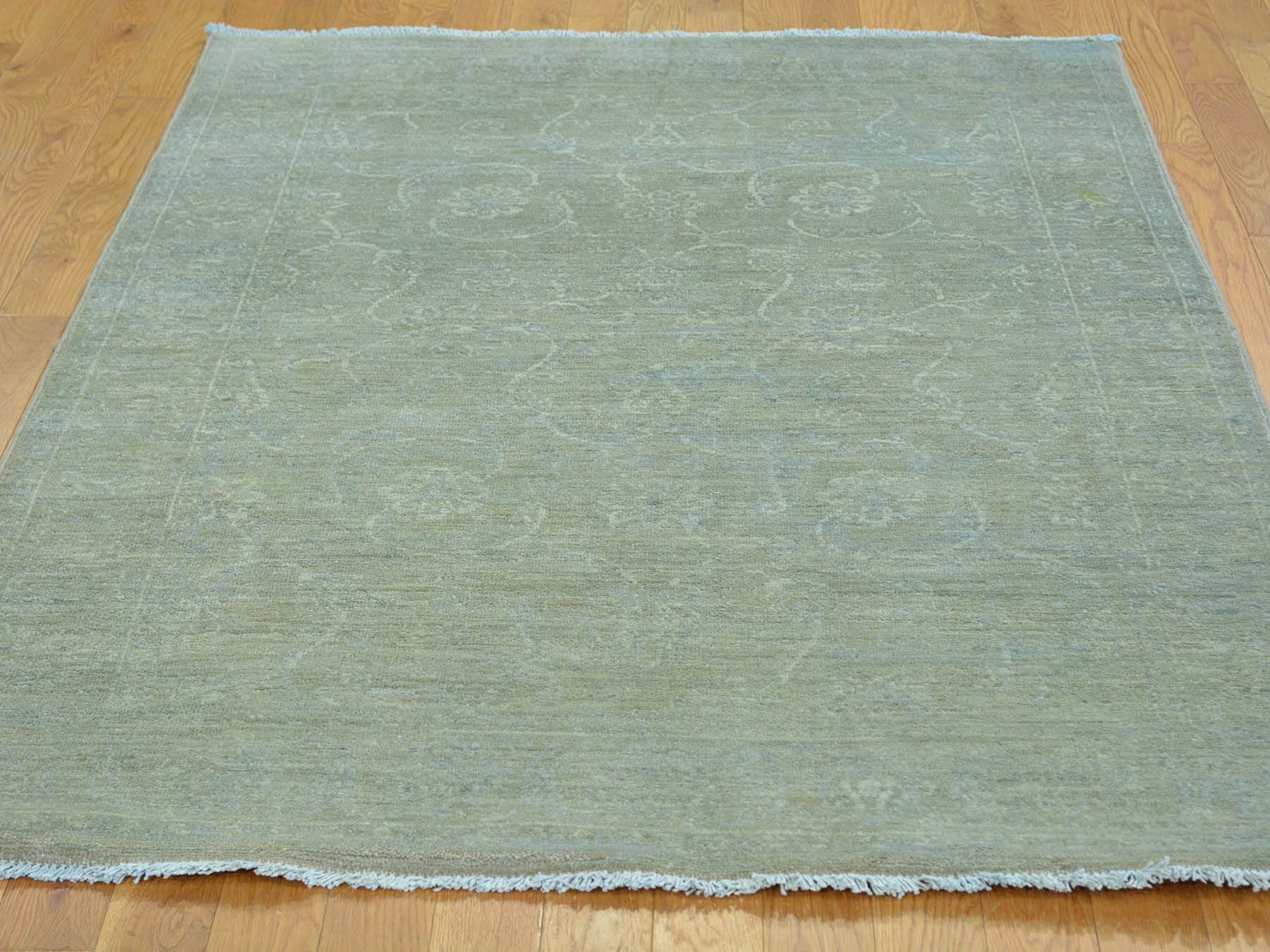 One-of-a-Kind Beaumont Light Overdyed Hand-Knotted Green Wool Area Rug