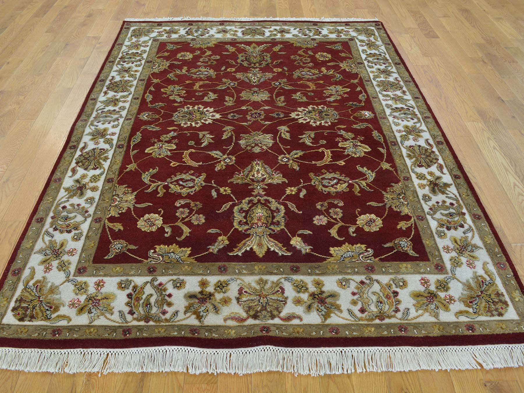 One-of-a-Kind Bear Hand-Knotted Red Wool/Silk Area Rug