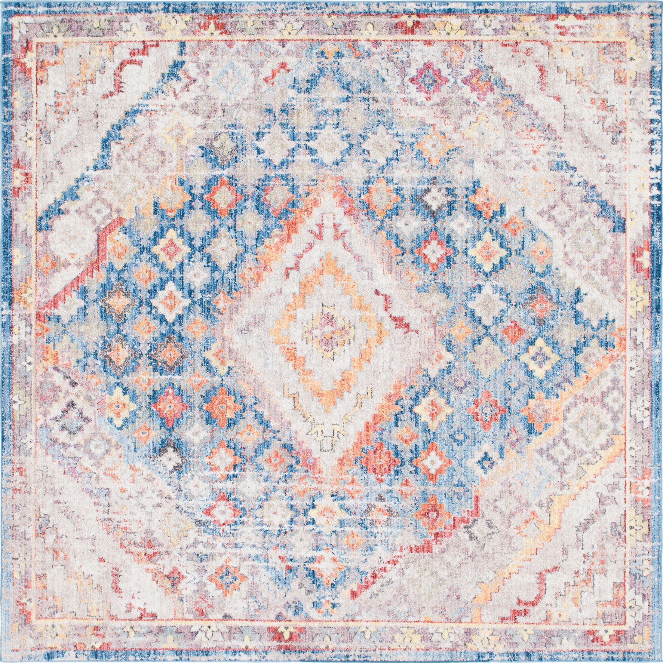 Gomez Blue/Orange Area Rug Rug Size: Square 8'