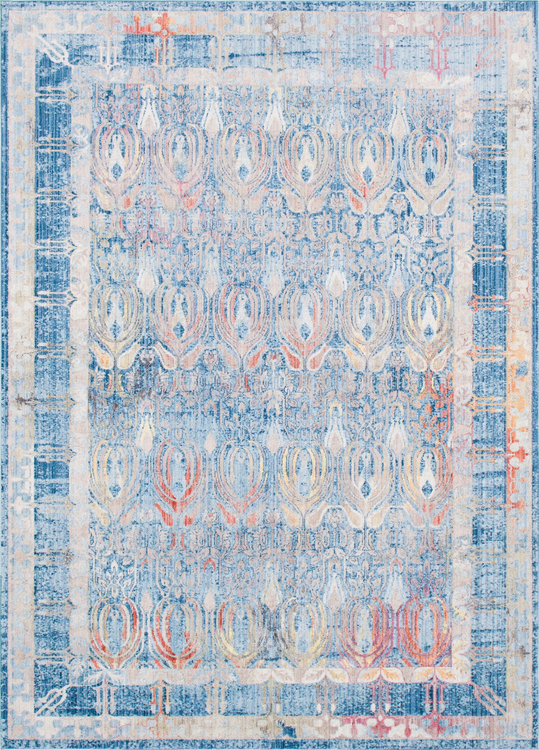 Gomez Blue/Gold Area Rug Rug Size: Rectangle 9' x 12'