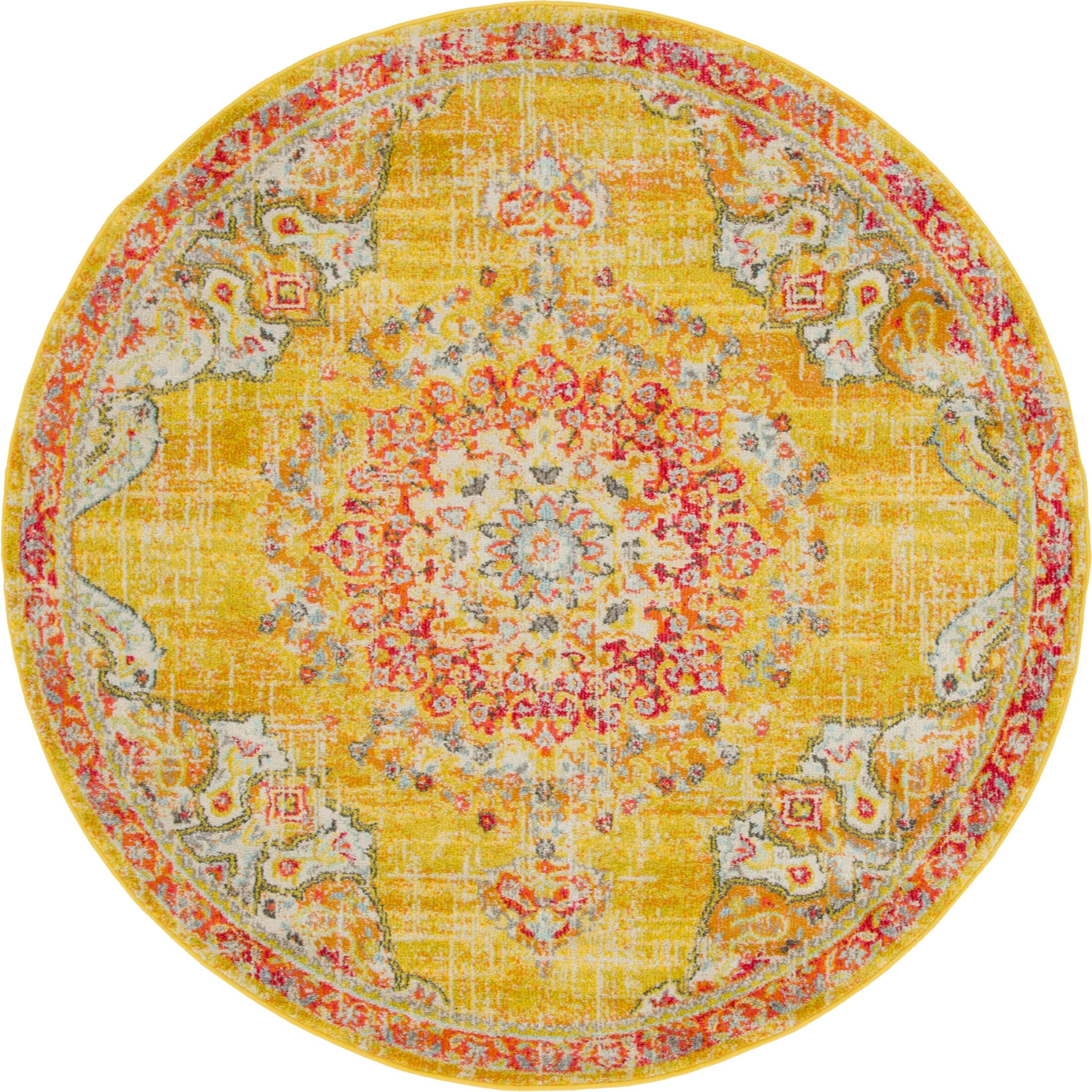 Ernst Gold/Red Area Rug Rug Size: Round 6'