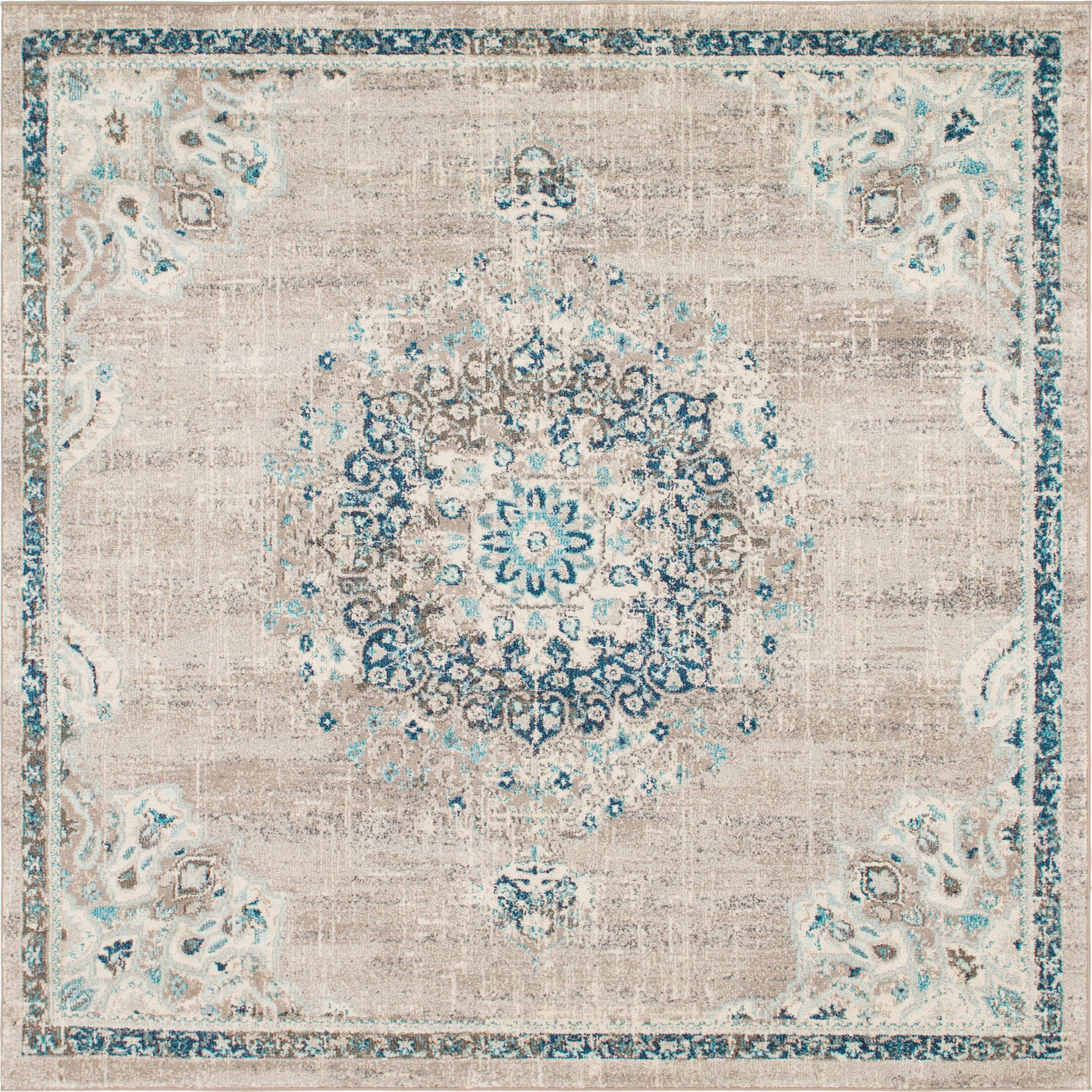 Ernst Gray/Green Area Rug Rug Size: Square 8'