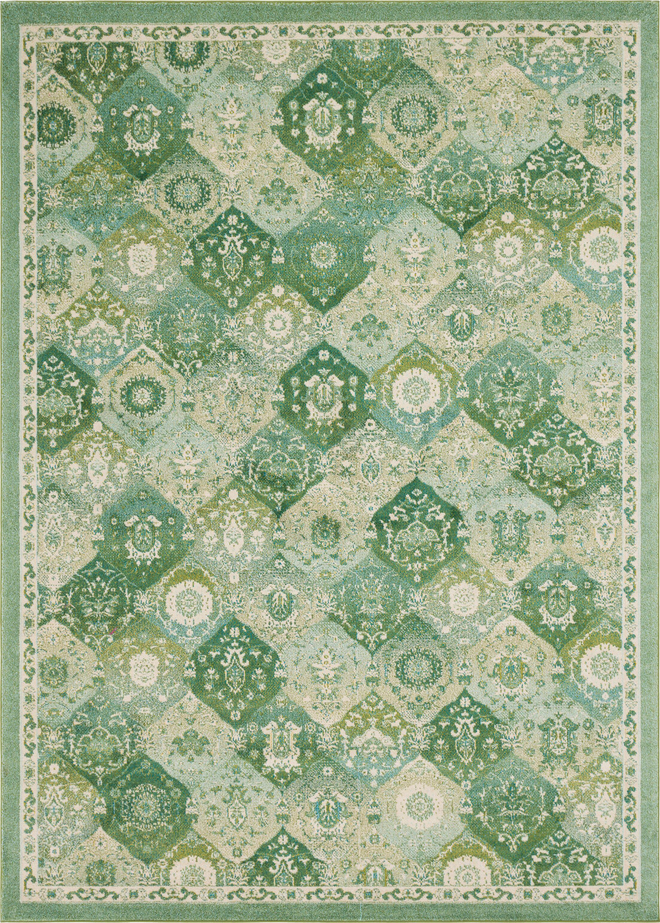 Ernst Green/Gray Area Rug Rug Size: Rectangle 5'3