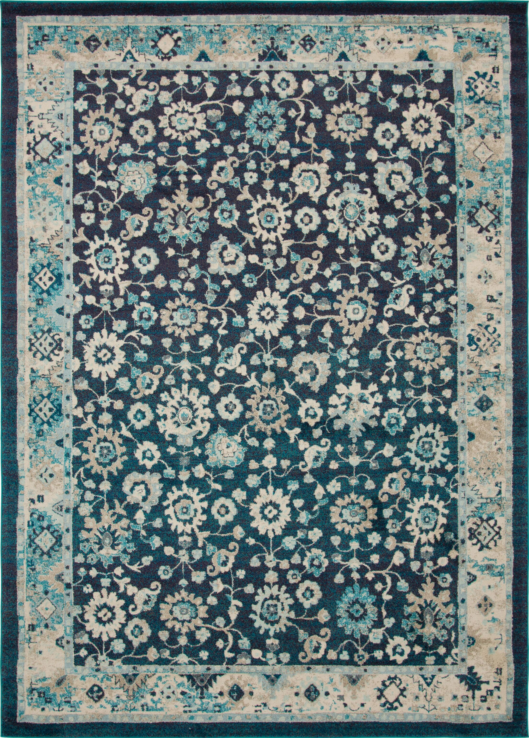 Ernst Navy Blue/Black Area Rug Rug Size: Rectangle 9' x 12'