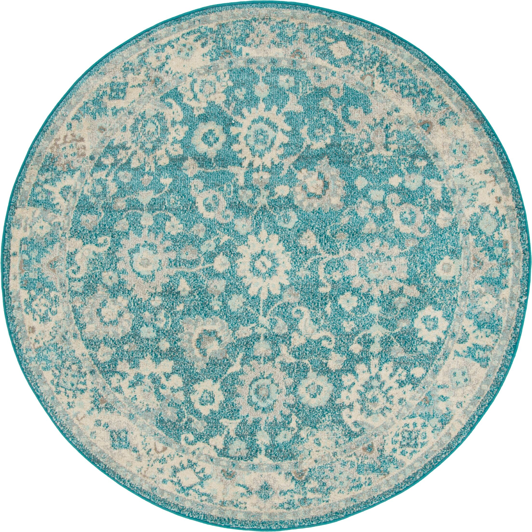 Ernst Turquoise/Gray Area Rug Rug Size: Round 3'3