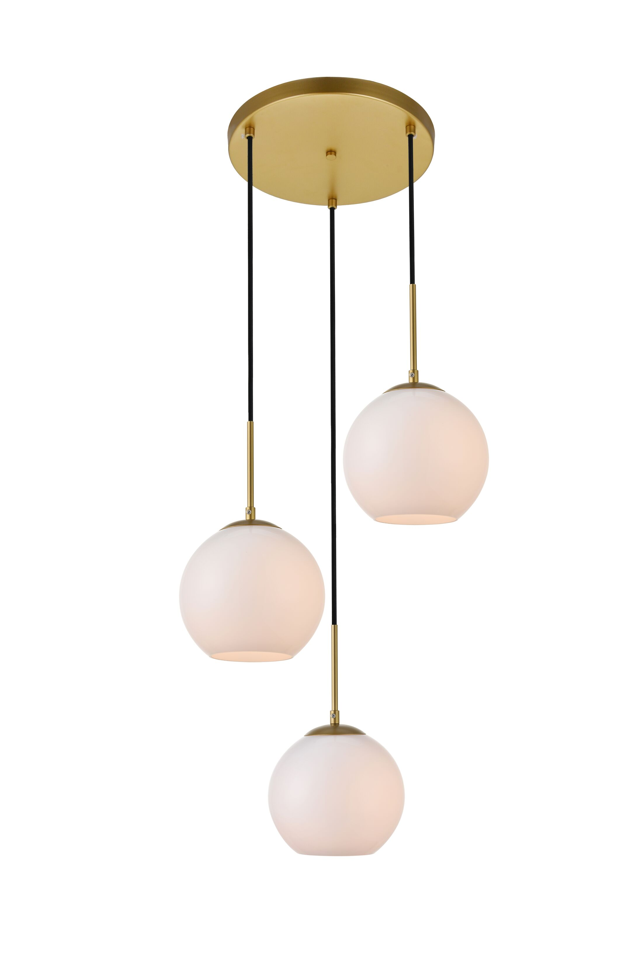 Eller 3-Light Cluster Pendant Finish: Brass, Shade Color/Pattern: Frosted White, Size: 11.8