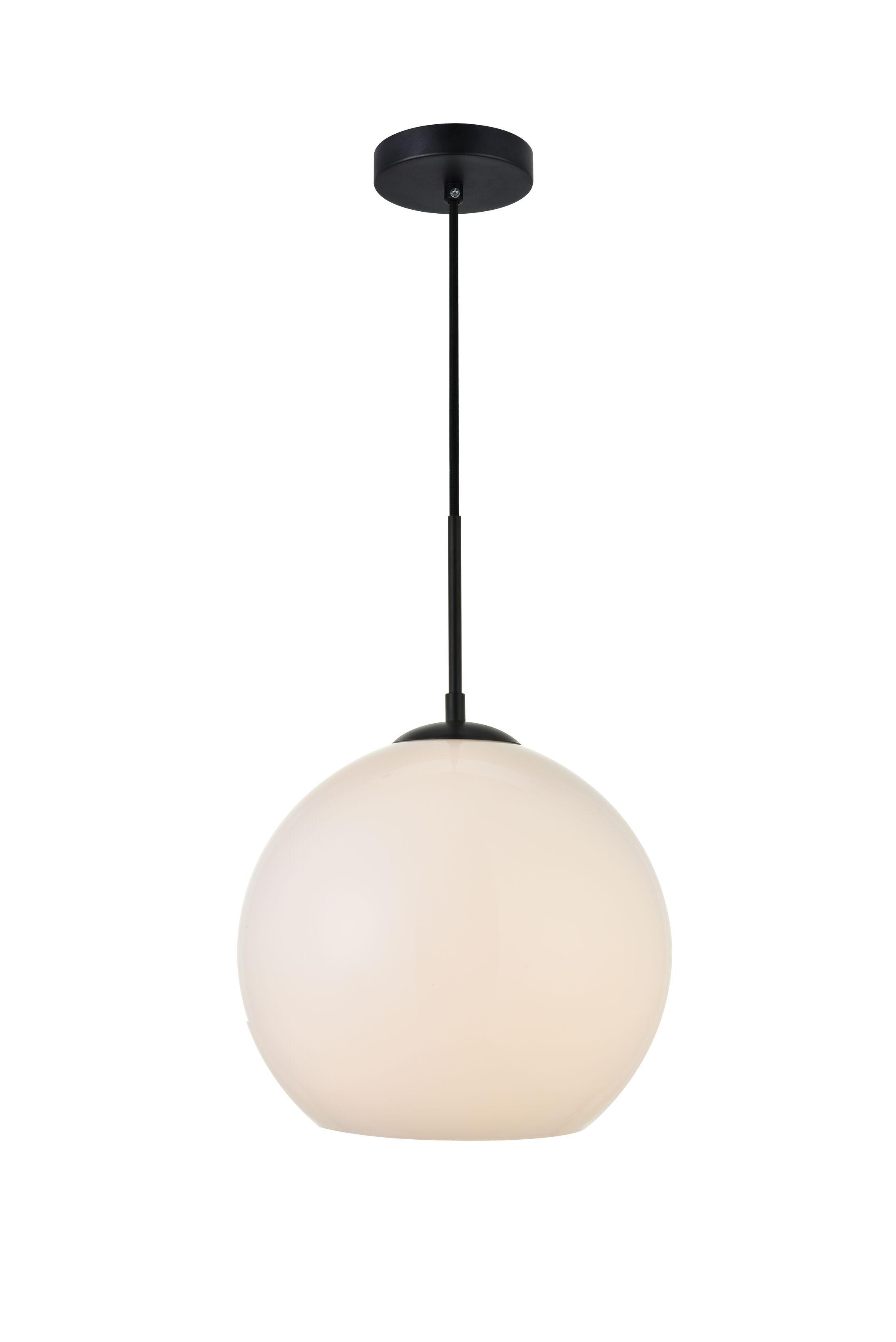 Eller 1-Light Globe Pendant Finish: Black, Shade Color/Pattern: Frosted White, Size: 13.4