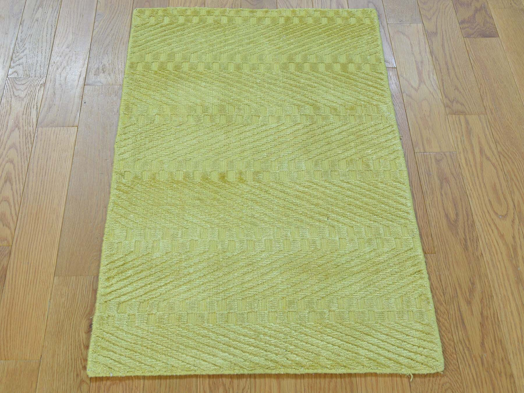 One-of-a-Kind Bean Art Handwoven Yellow Silk Area Rug