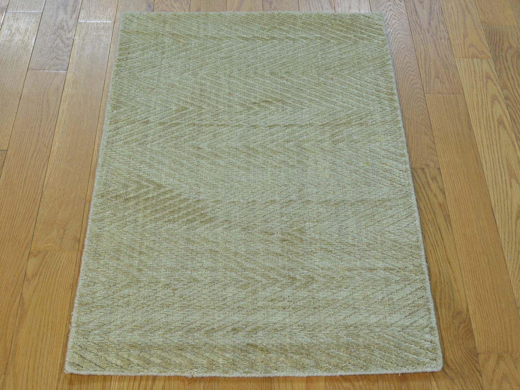 One-of-a-Kind Bean Art Handwoven Beige Silk Area Rug