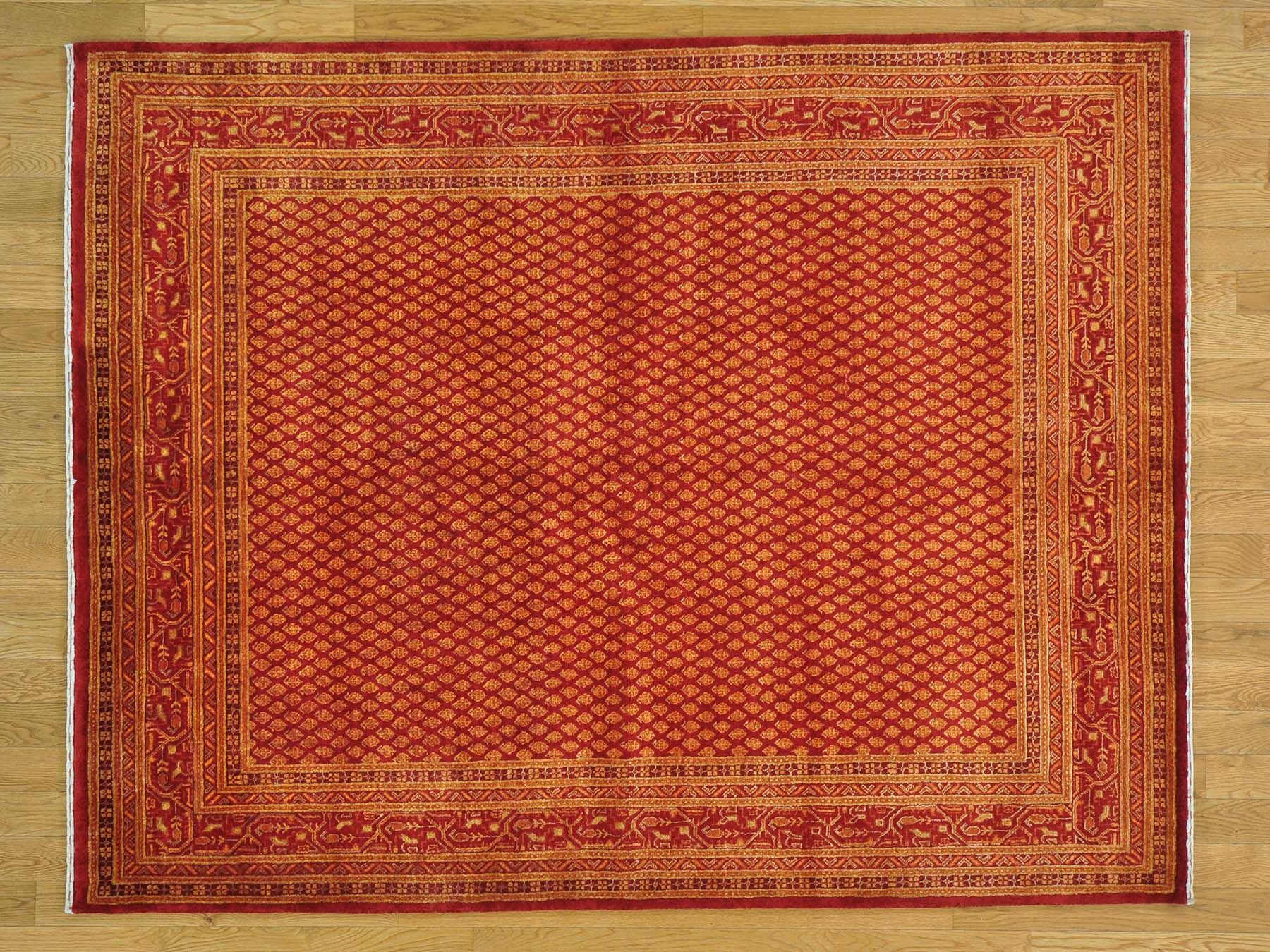 One-of-a-Kind Bowles Overdyed Sarouk Mir Hand-Knotted Red Wool Area Rug