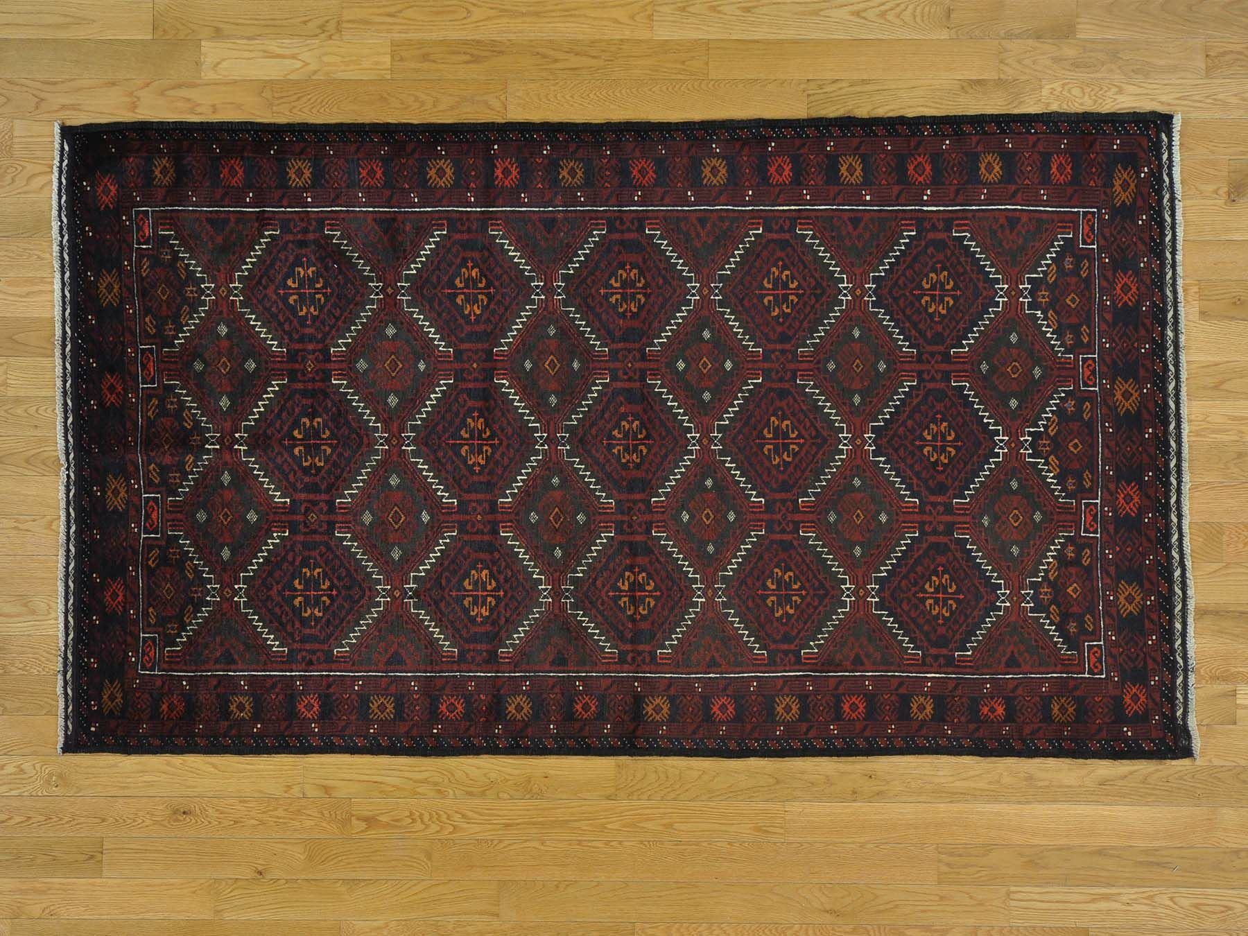 One-of-a-Kind Branch Geometric Design Afghan Baluch Hand-Knotted Blue Wool Area Rug