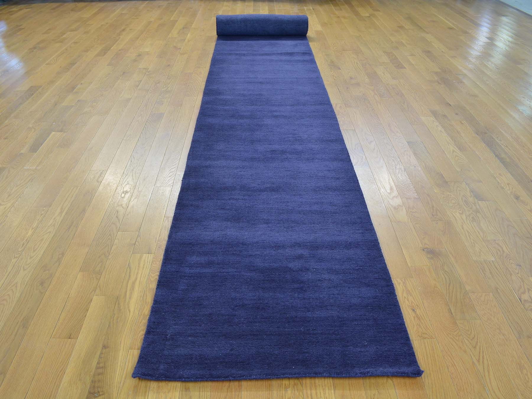 One-of-a-Kind Becker Plush Handwoven Blue Wool Area Rug