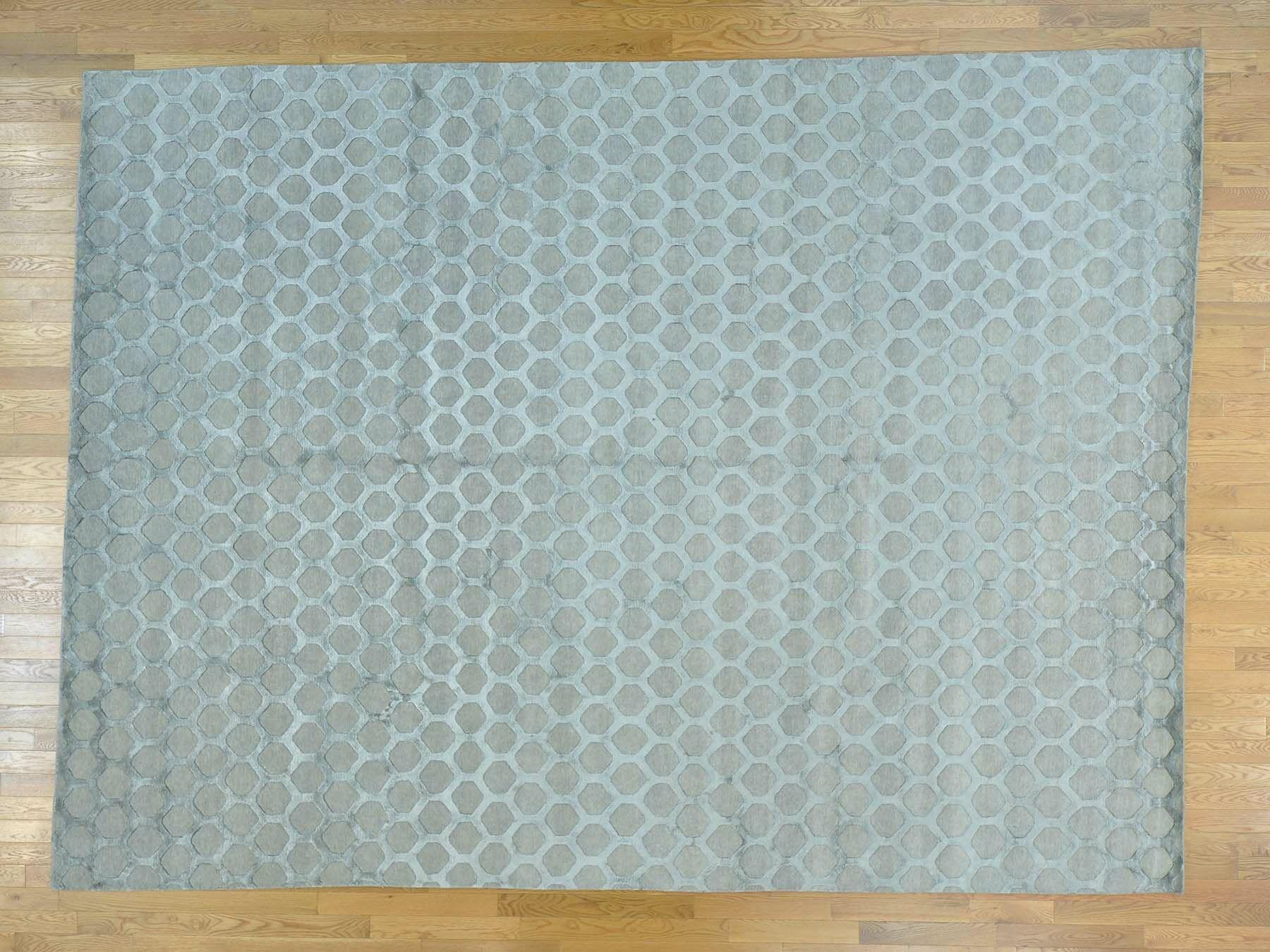One-of-a-Kind Brecht Honeycomb Design Handwoven Grey Wool/Silk Area Rug
