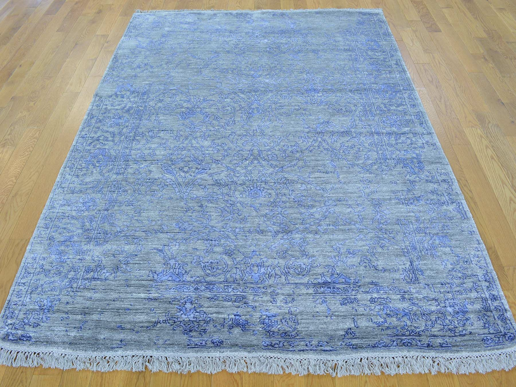 One-of-a-Kind Brewster Art Silver Broken Design Handwoven Grey Silk Area Rug