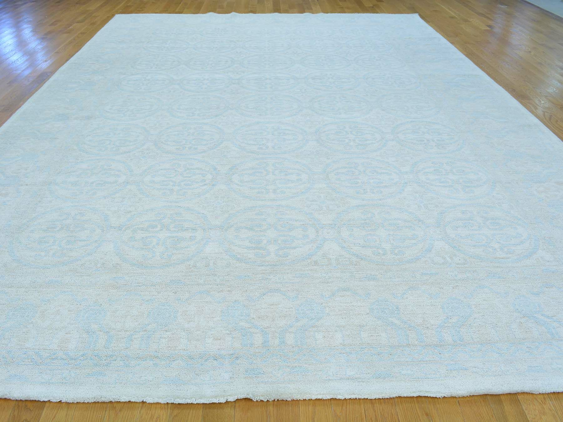 One-of-a-Kind Beauchemin Washed Out Hand-Knotted Blue Wool Area Rug