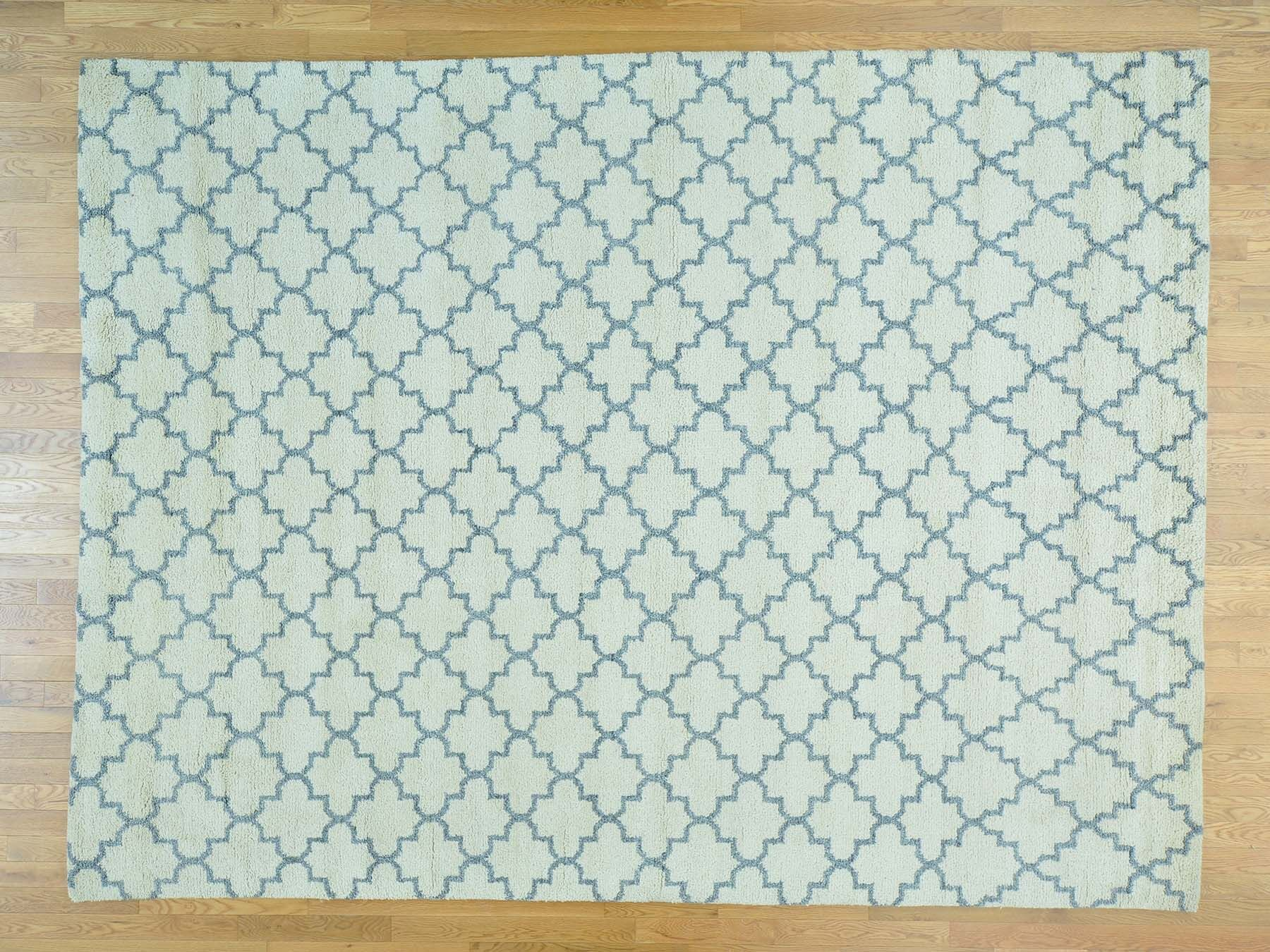 One-of-a-Kind Beard Plush Handwoven Ivory Wool Area Rug