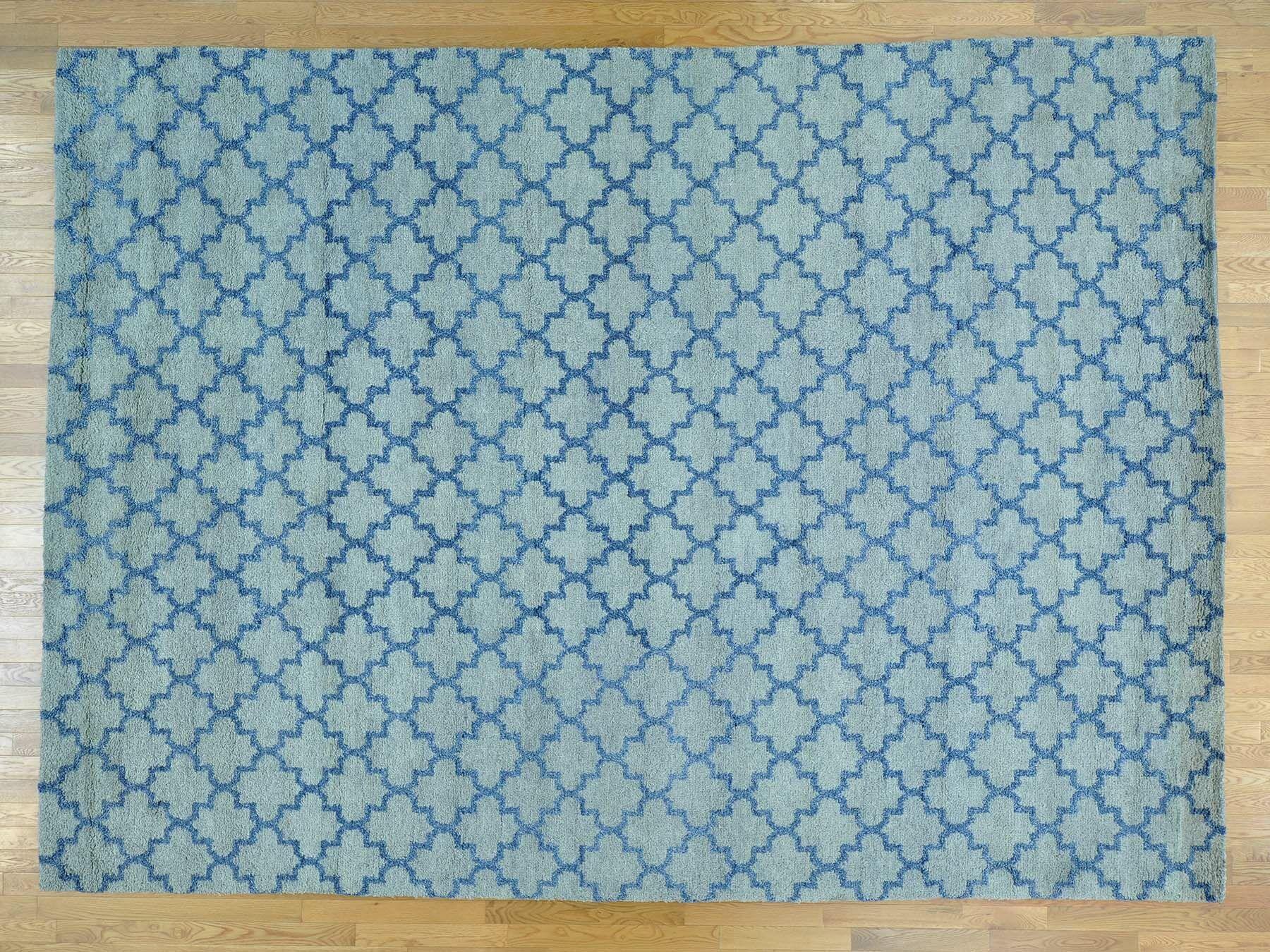 One-of-a-Kind Beard Plush Handwoven Blue Wool Area Rug
