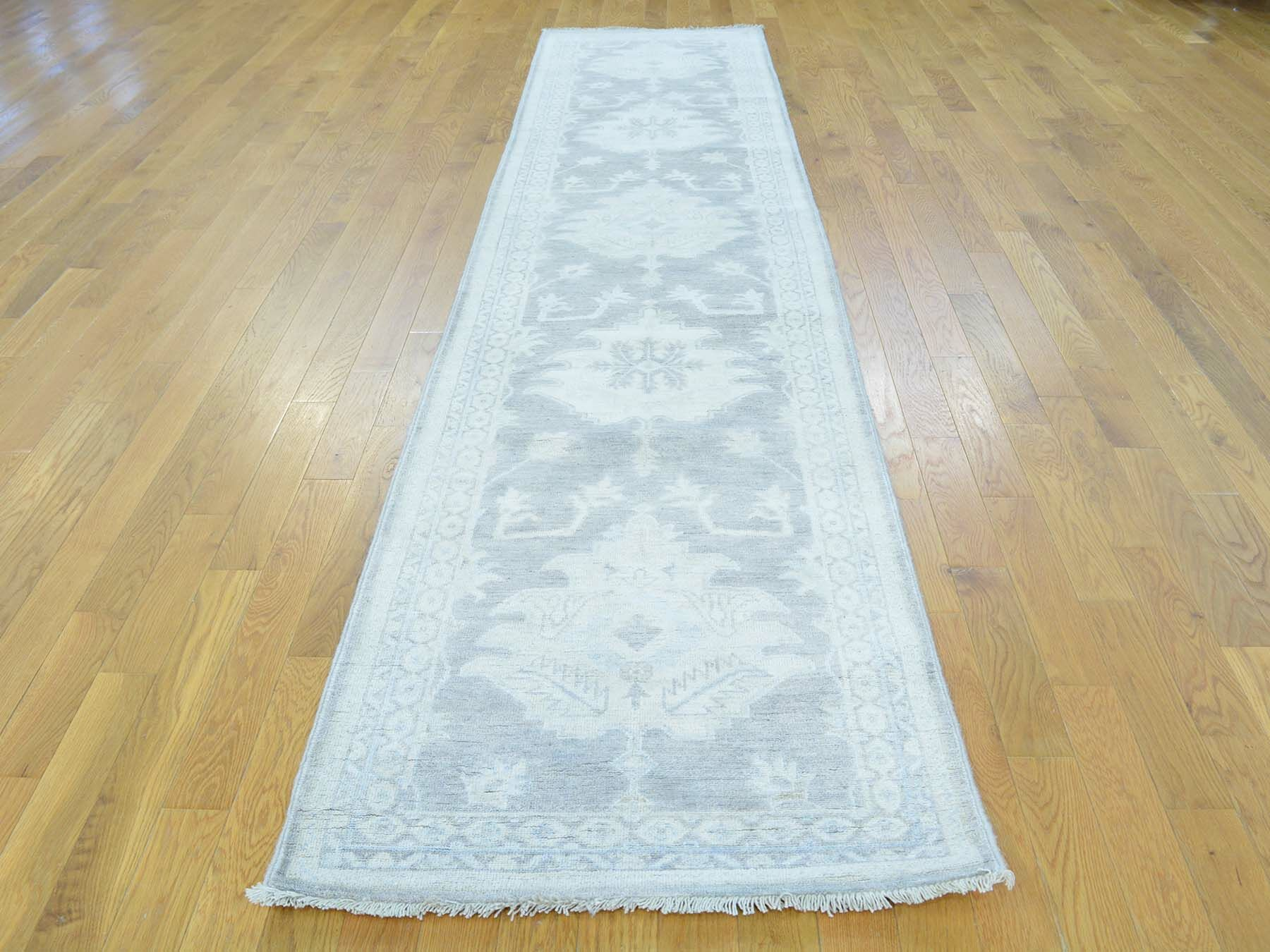 One-of-a-Kind Bearer Washed Out Hand-Knotted Grey Wool Area Rug