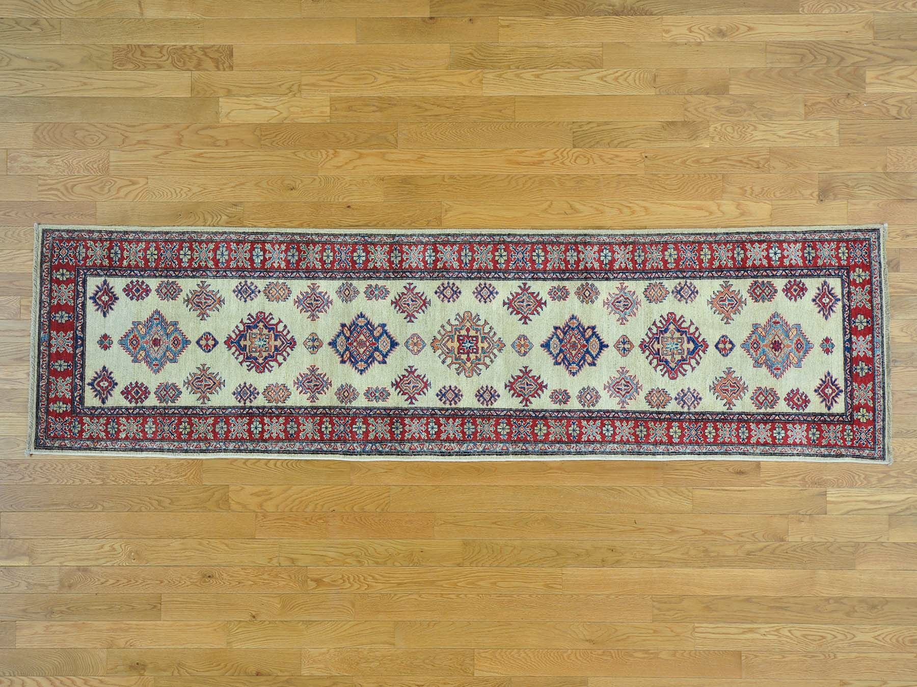 One-of-a-Kind Bechtold Geometric Design Hand-Knotted Ivory Wool Area Rug