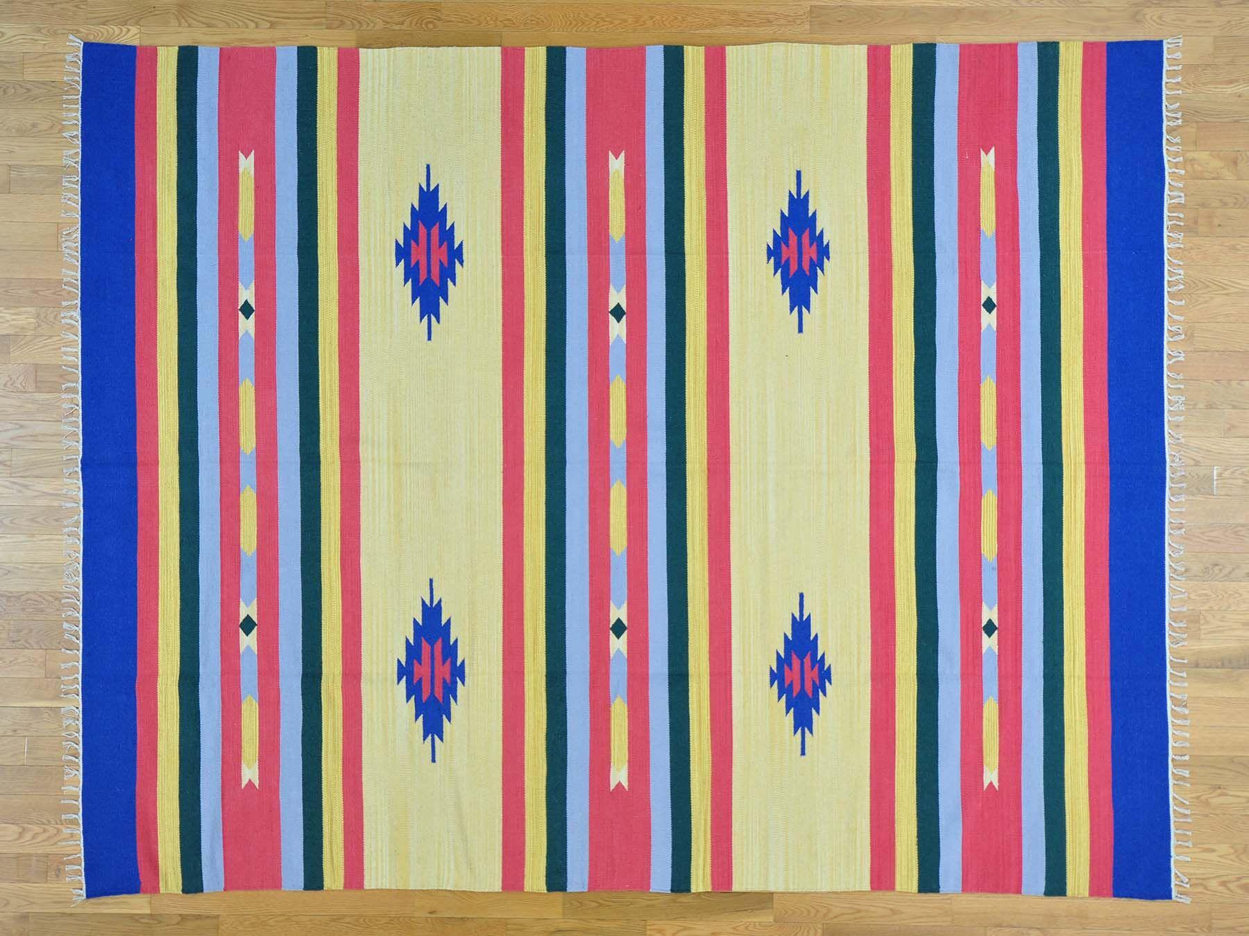 One-of-a-Kind Biarritz Killim Southwestern Design Handwoven Wool Area Rug