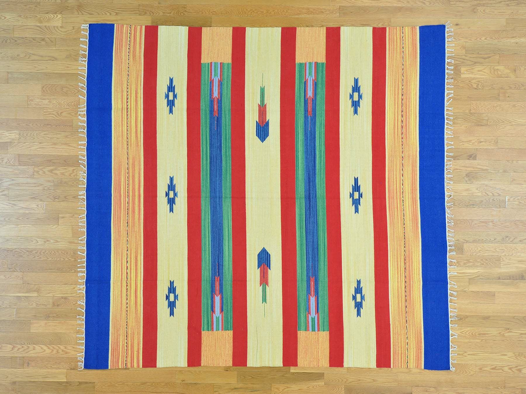 One-of-a-Kind Big Coppitt Key Squarish Southwestern Design Killim Handwoven Wool Area Rug