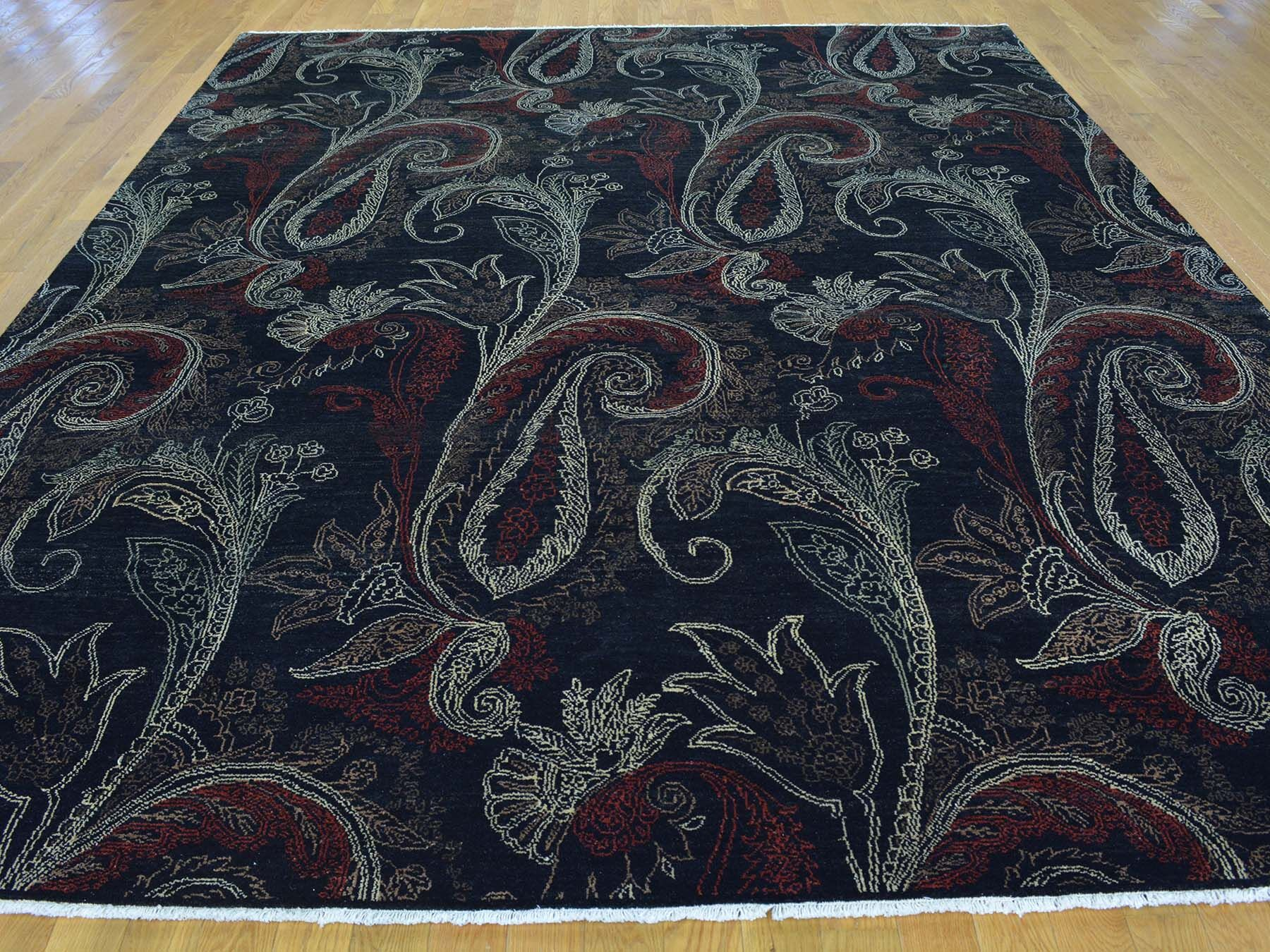 One-of-a-Kind Biggerstaff Tulip Paisley Design Hand-Knotted Black Wool Area Rug