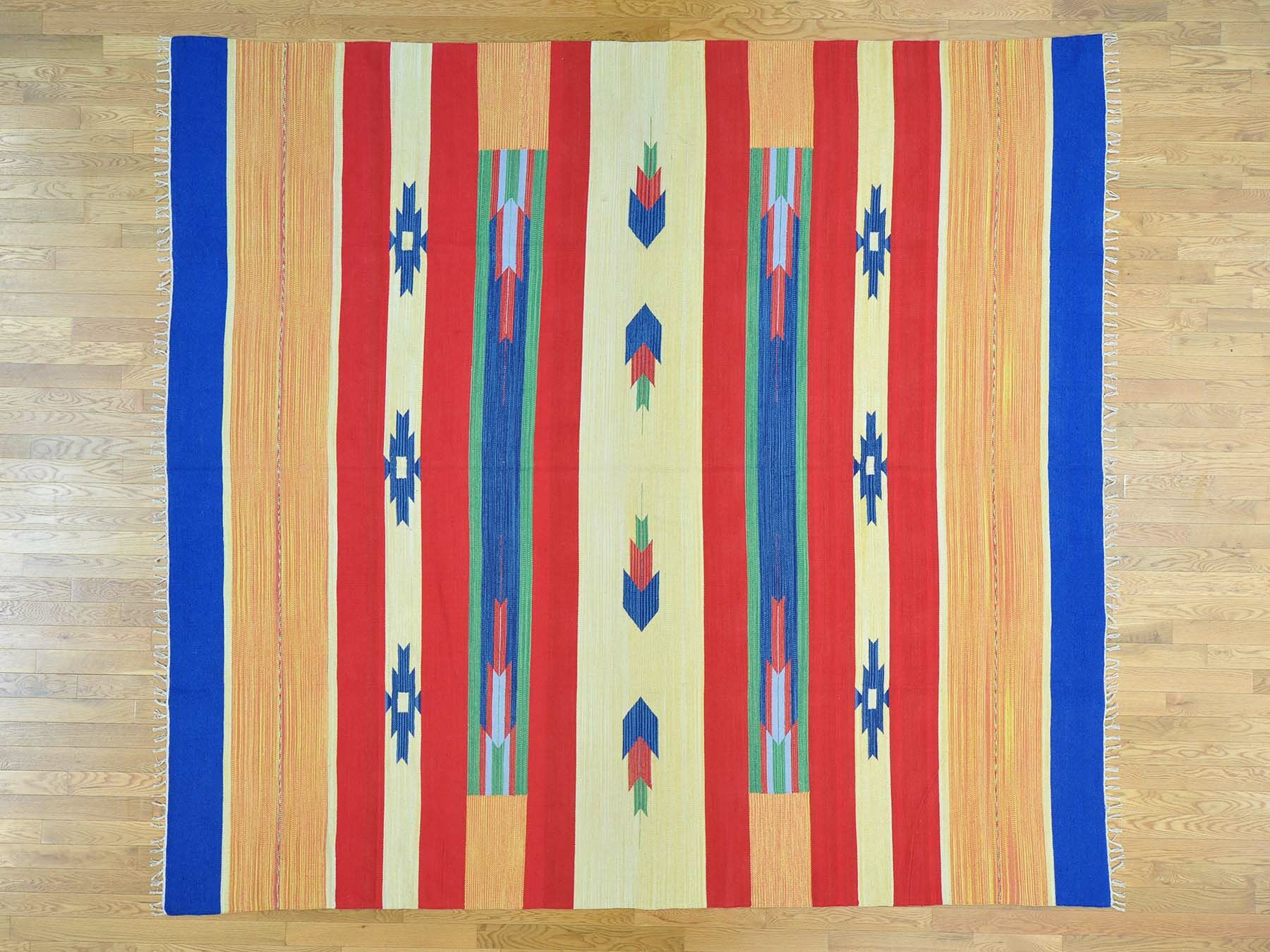 One-of-a-Kind Chronister Killim Squarish Design Handwoven Wool Area Rug