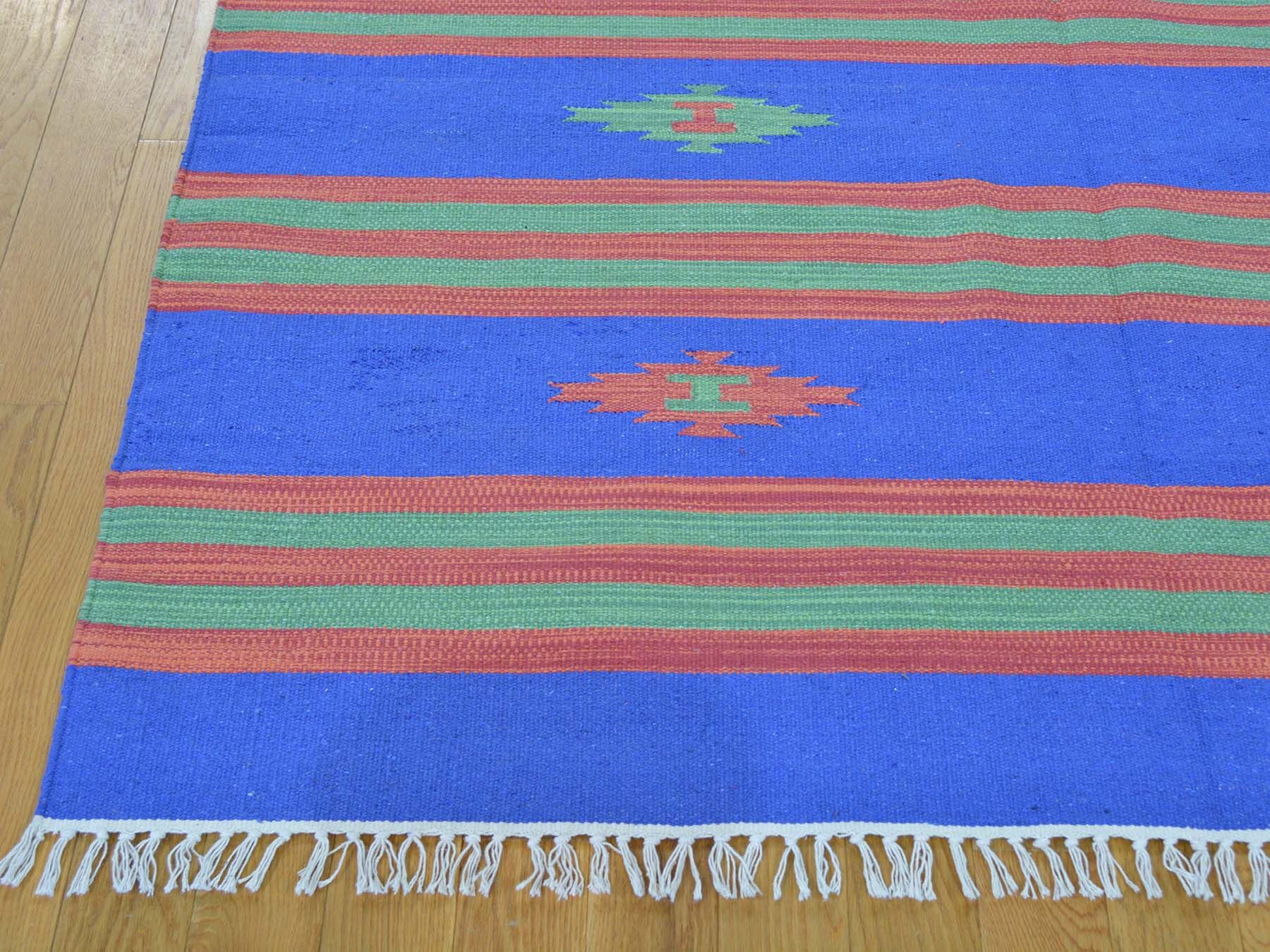 One-of-a-Kind Bilbrook Striped Killim Handwoven Blue Wool Area Rug