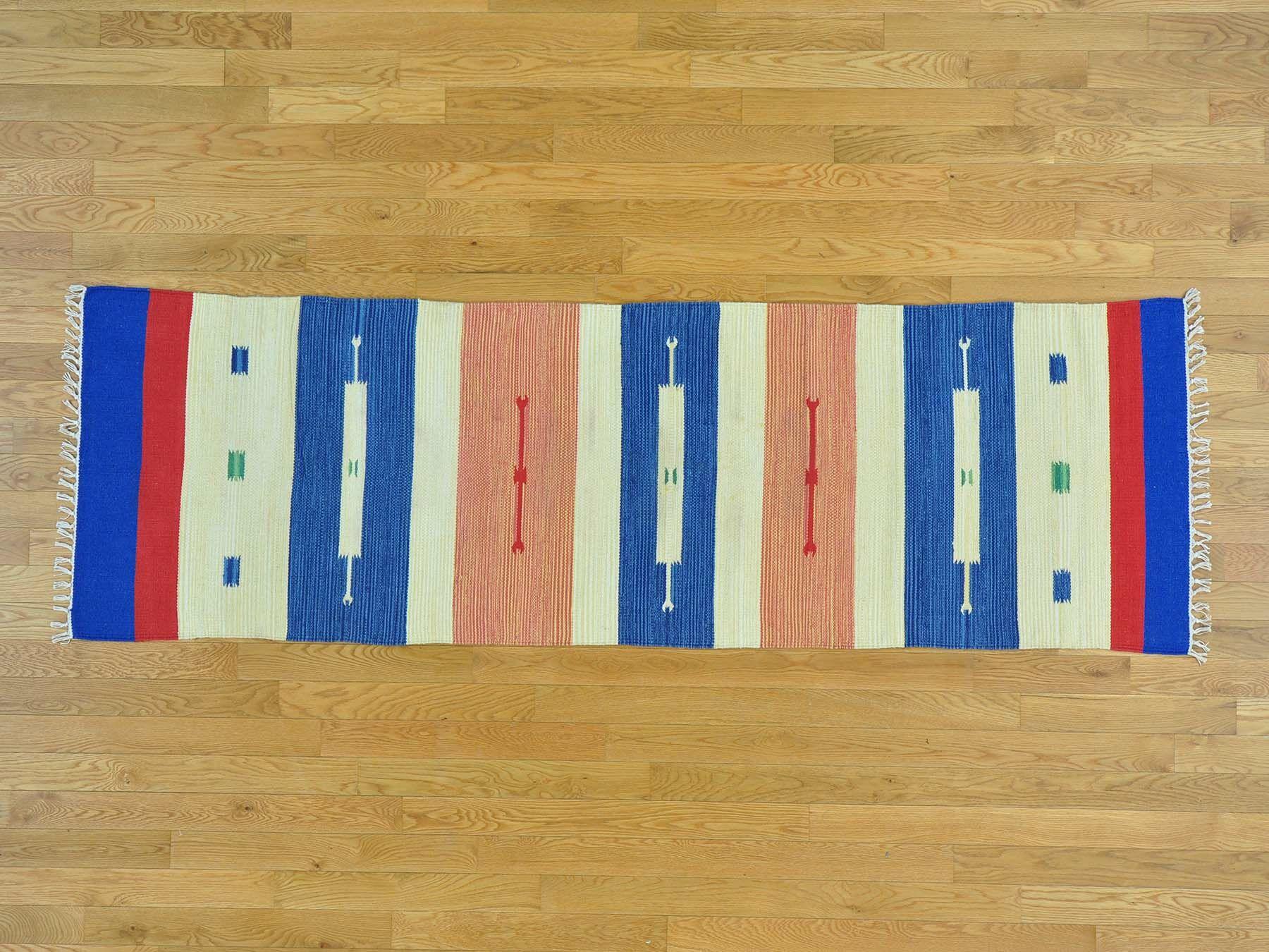 One-of-a-Kind Blasa Southwestern Design Handmade Kilim Blue/Beige Wool Area Rug
