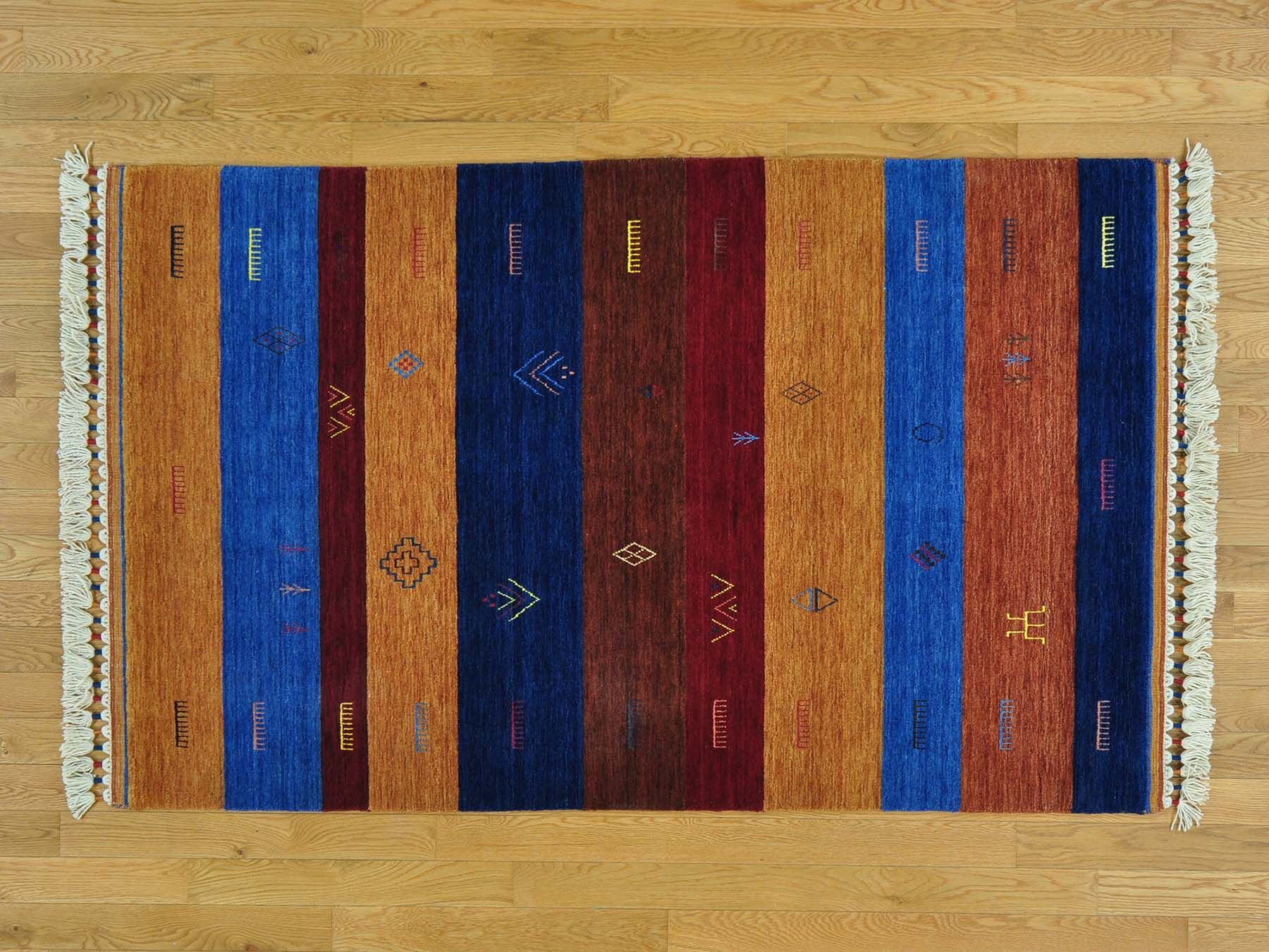 One-of-a-Kind Becker Striped Handwoven Blue/Red Wool Area Rug