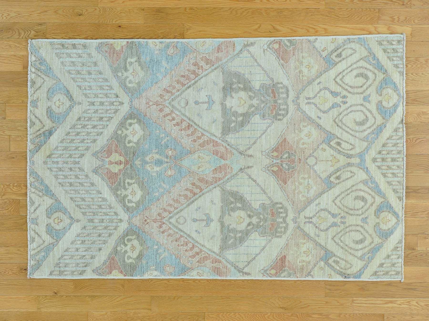 One-of-a-Kind Citrana Ikat Uzbek Design Hand-Knotted Wool Area Rug