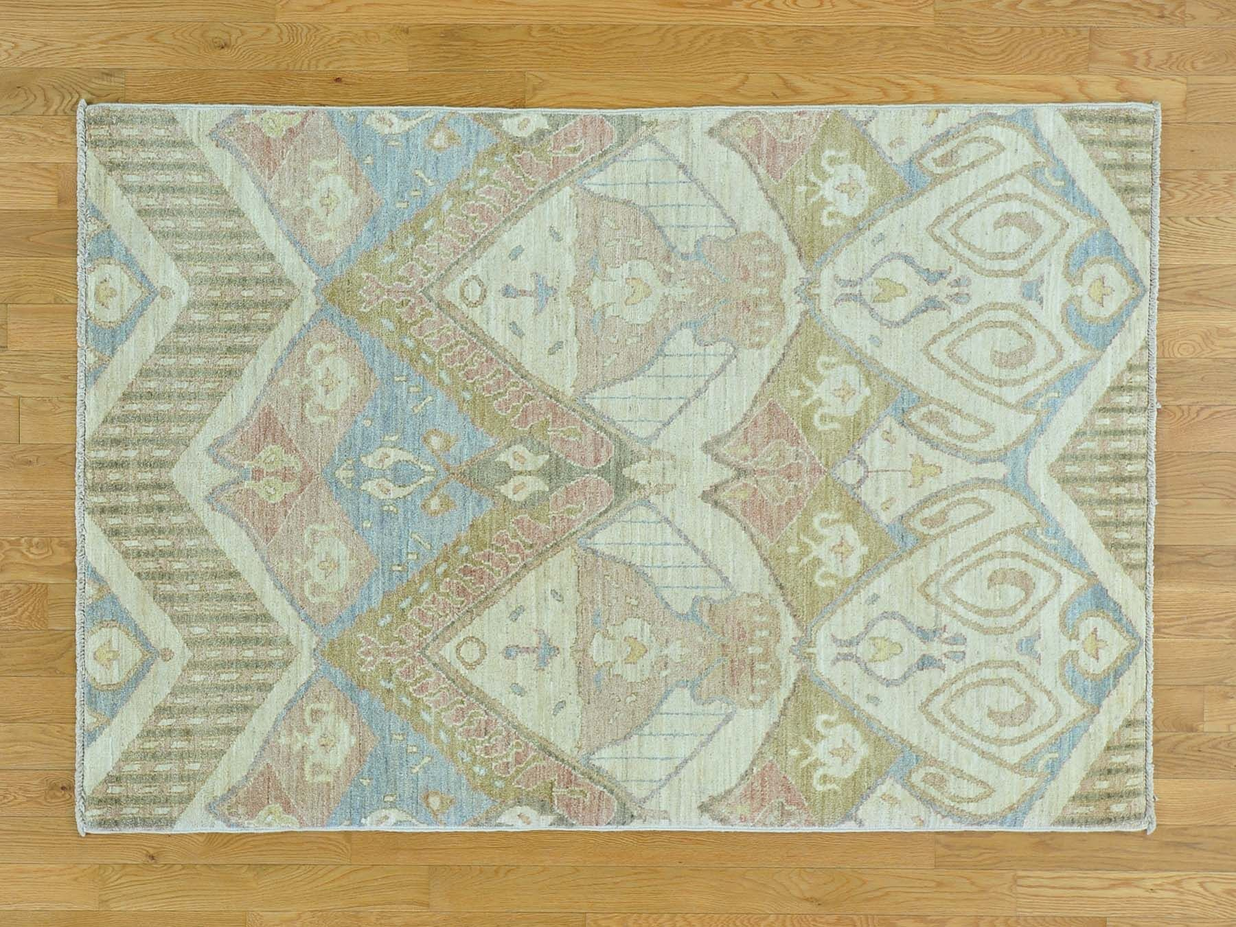 One-of-a-Kind Claflin Ikat Uzbek Design Hand-Knotted Wool Area Rug