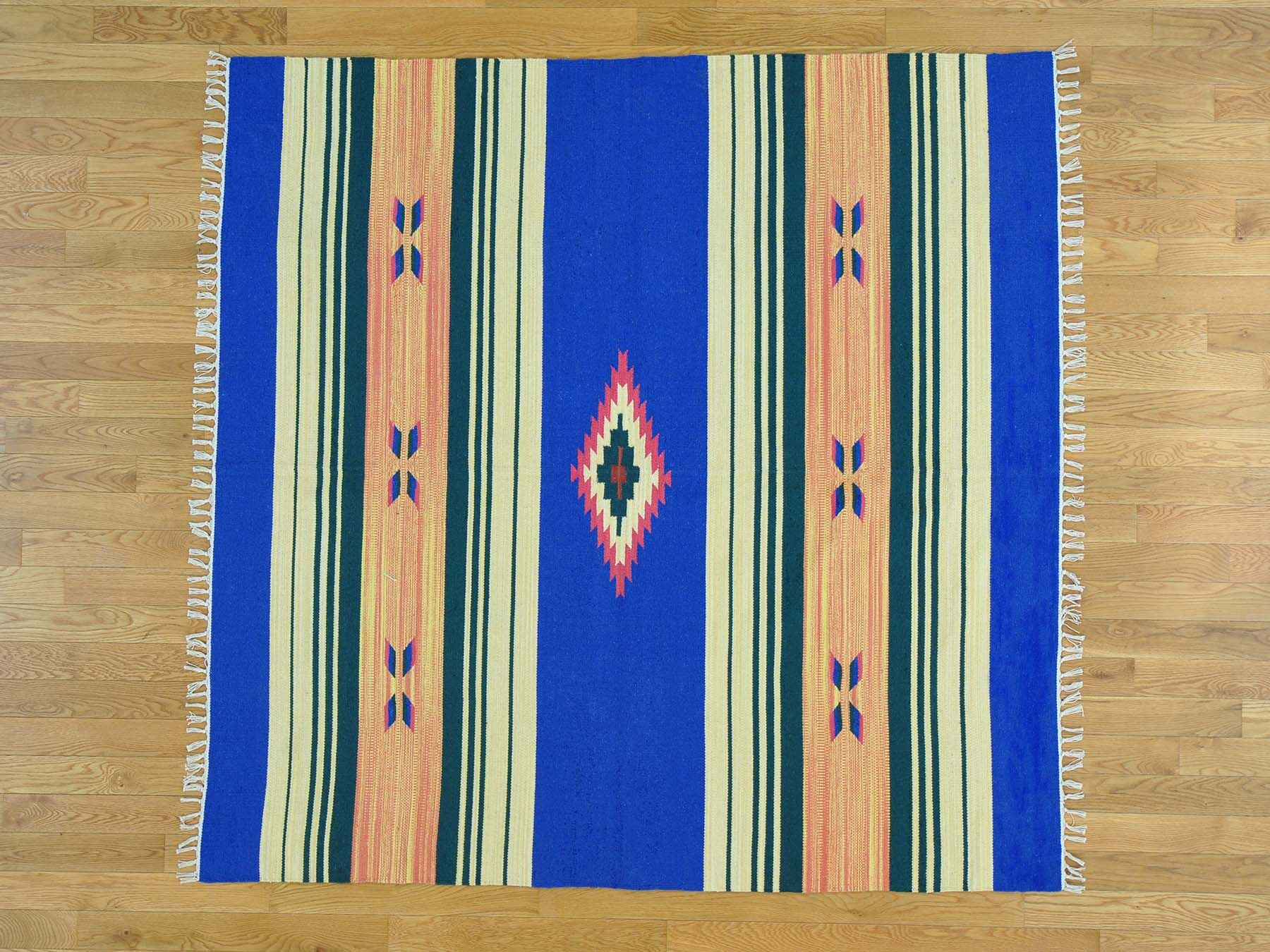 One-of-a-Kind Clapp Southwestern Design Striped Handmade Kilim Wool Area Rug