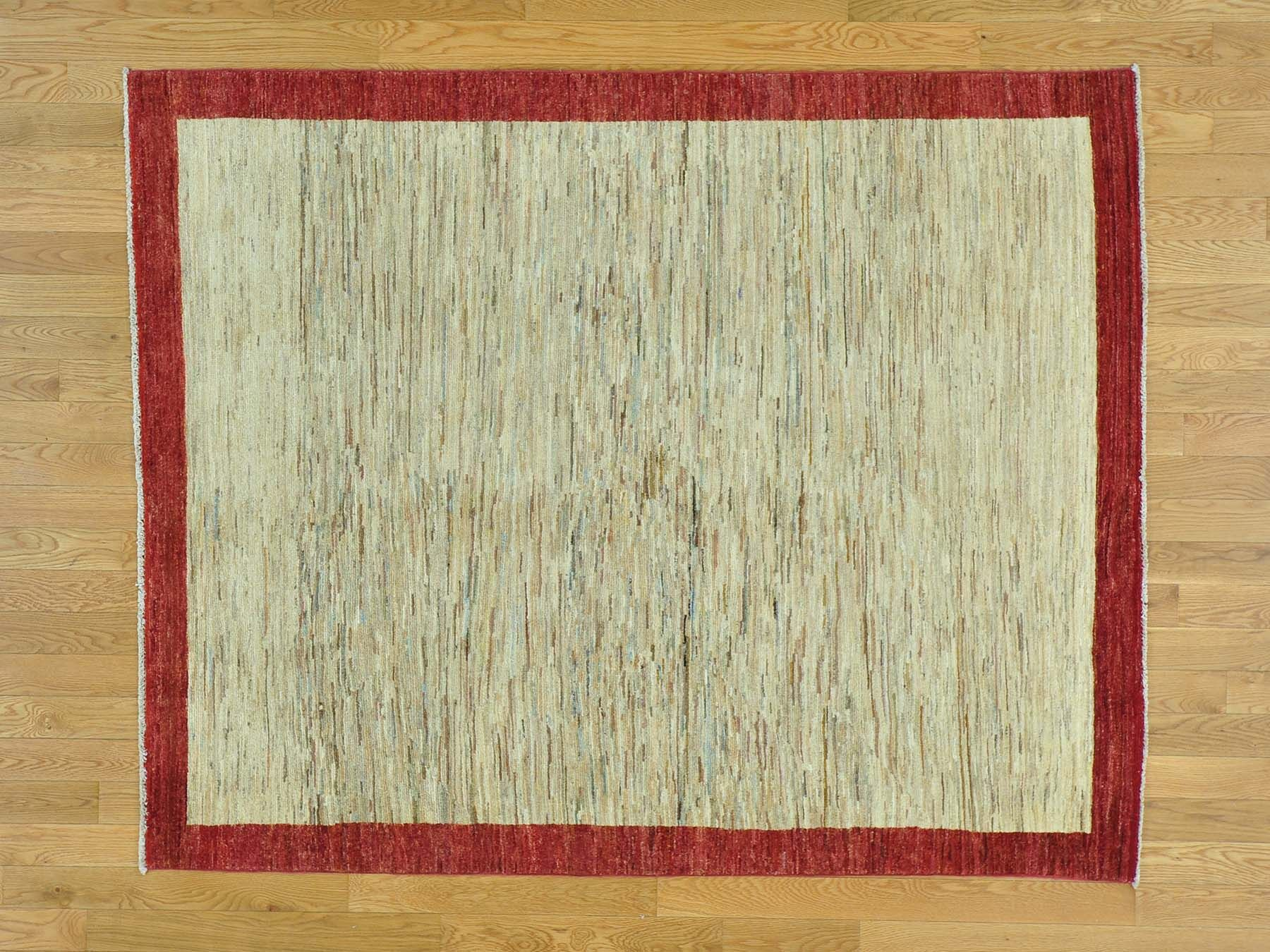 One-of-a-Kind Becker Striped Hand-Knotted Beige Wool Area Rug