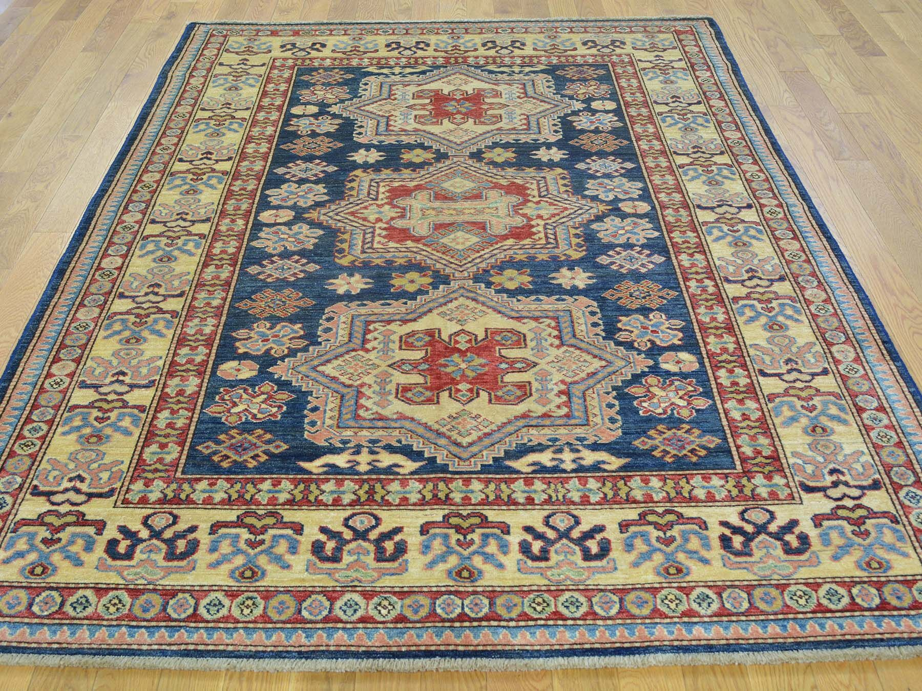 One-of-a-Kind Bechtold Tribal Geometric Design Handwoven Blue Wool Area Rug