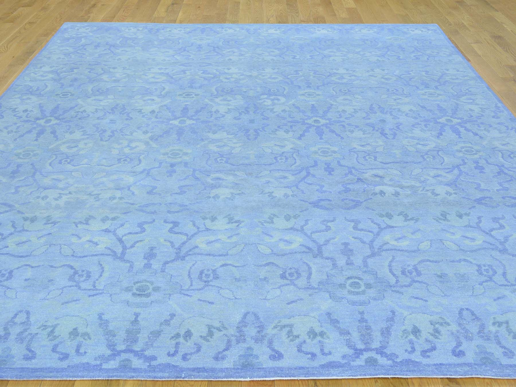 One-of-a-Kind Bean Hand-Knotted Blue Wool Area Rug