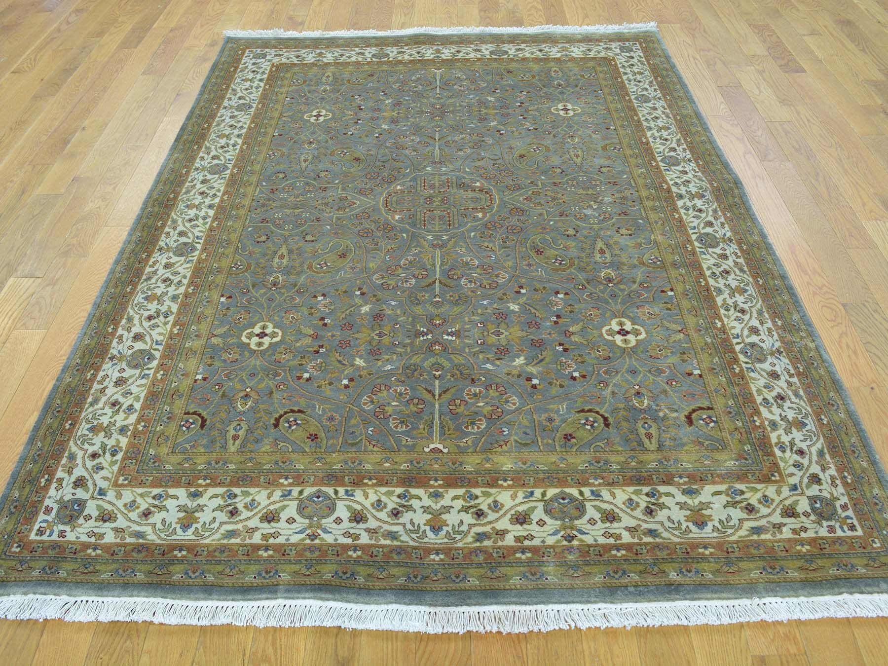 One-of-a-Kind Benally Handwoven Gray Wool/Silk Area Rug