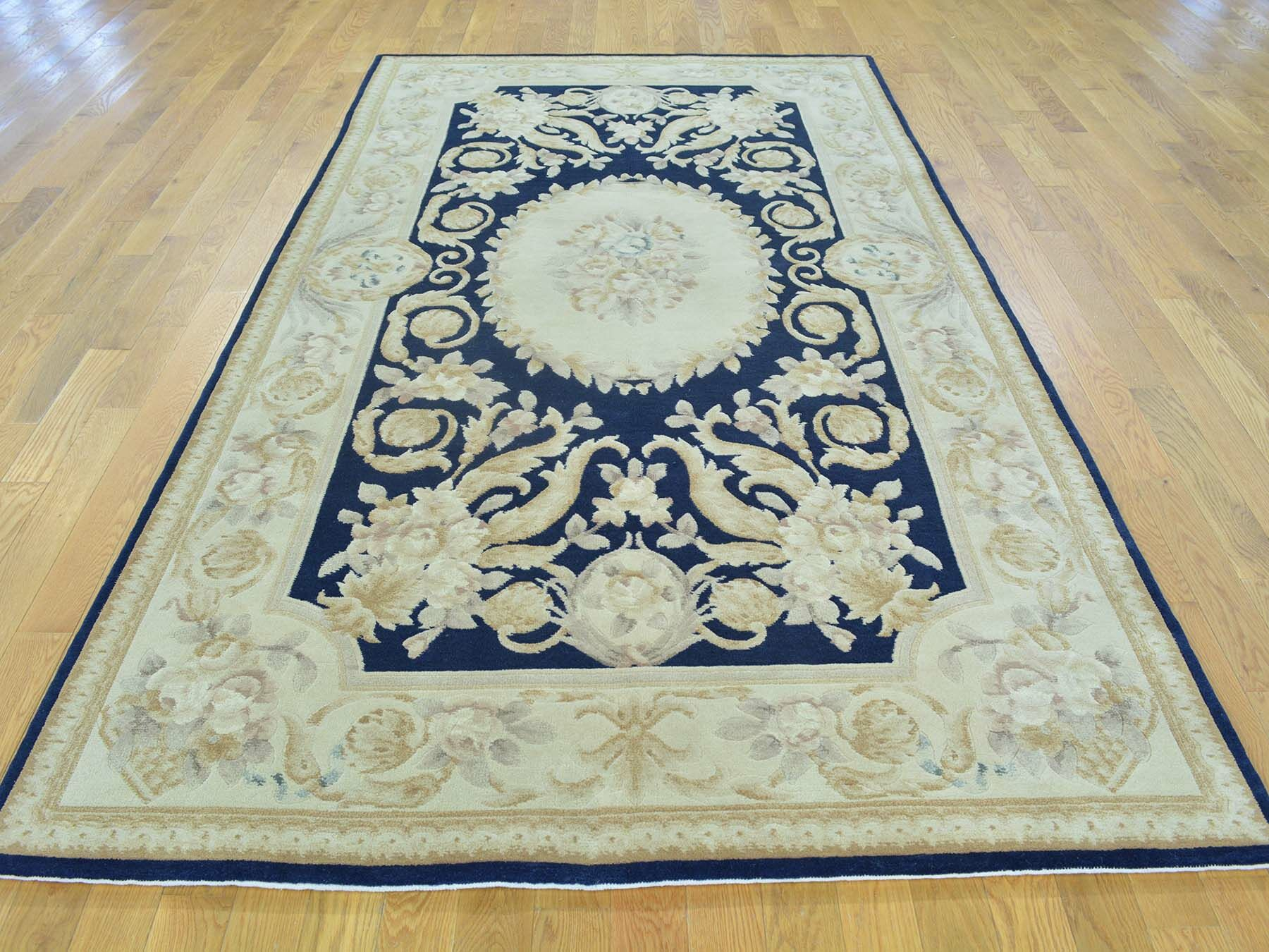 One-of-a-Kind Besser Plush Hand-Knotted Blue Wool Area Rug