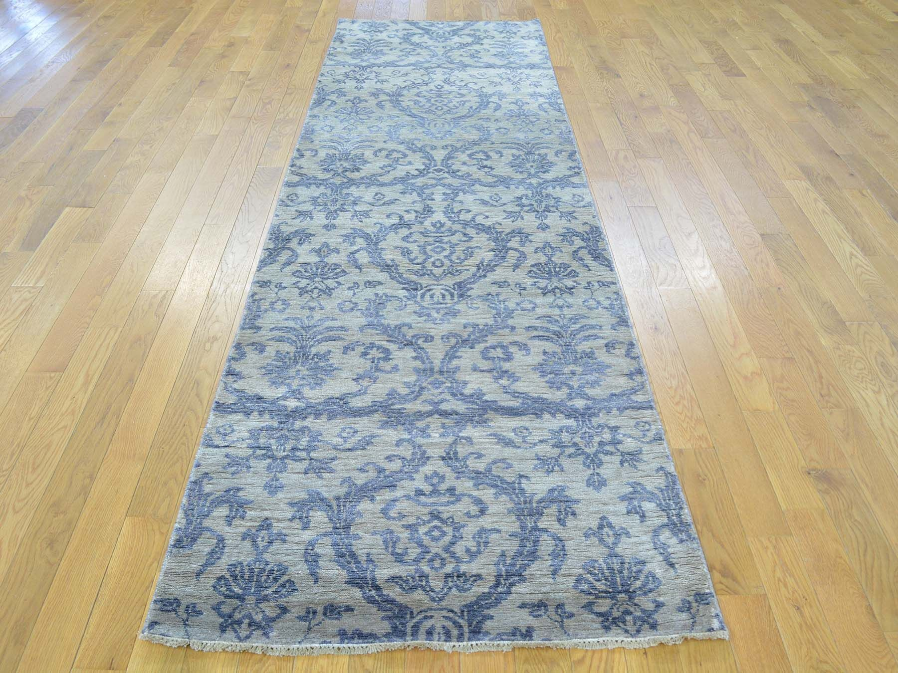 One-of-a-Kind Bean Damask Handwoven Blue Wool/Silk Area Rug