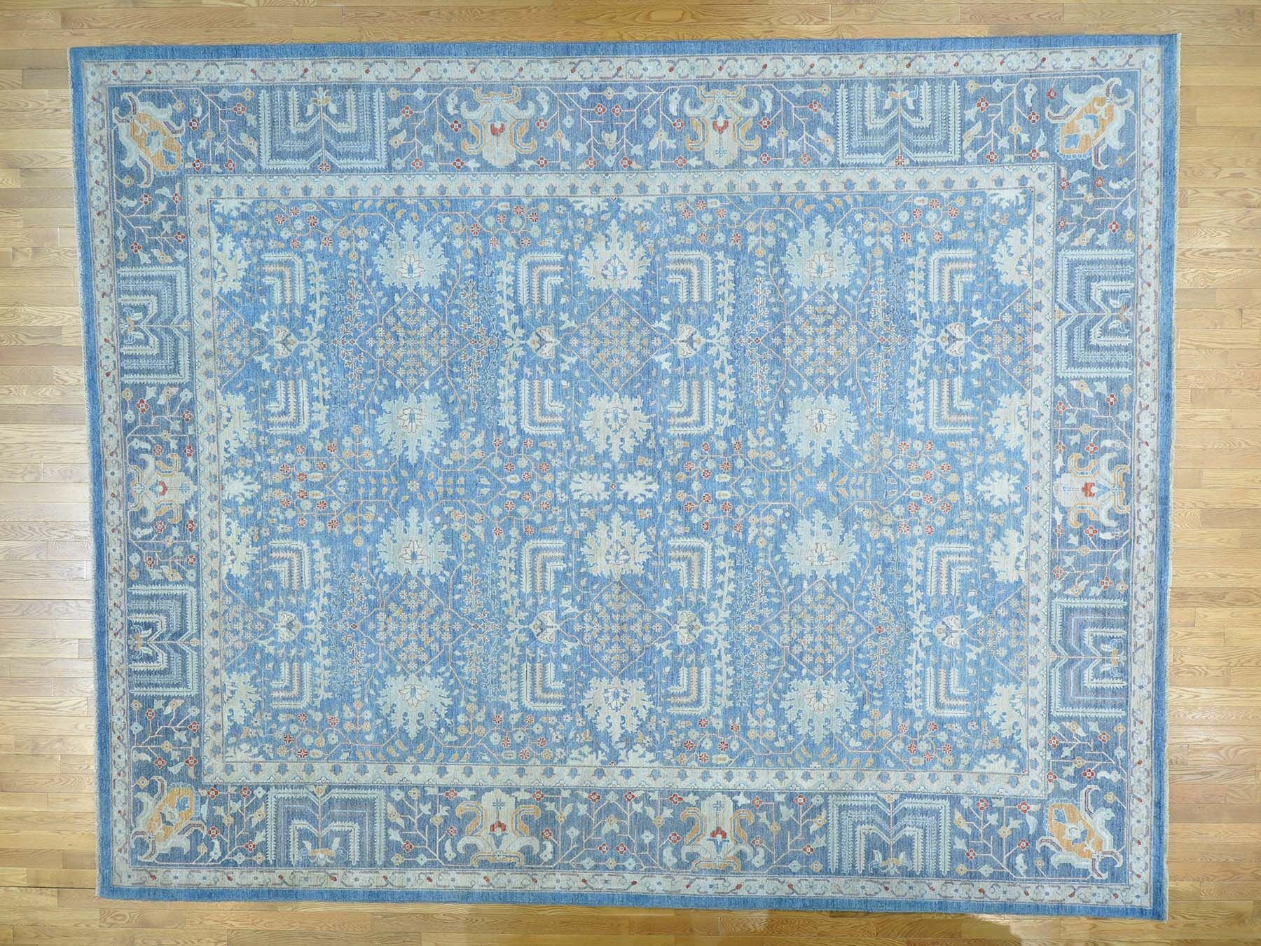 One-of-a-Kind Beaumont Wilw Tree Design Hand-Knotted Blue Wool Area Rug