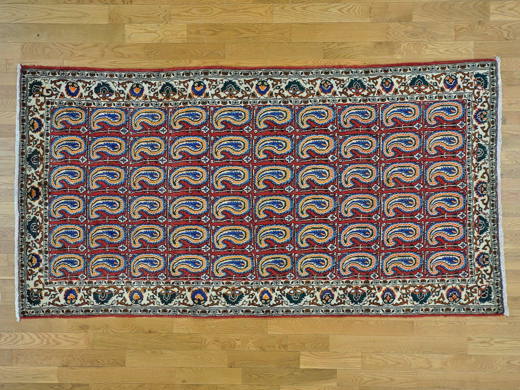 One-of-a-Kind Beane Shiraz Paisley Design Hand-Knotted Red Wool Area Rug