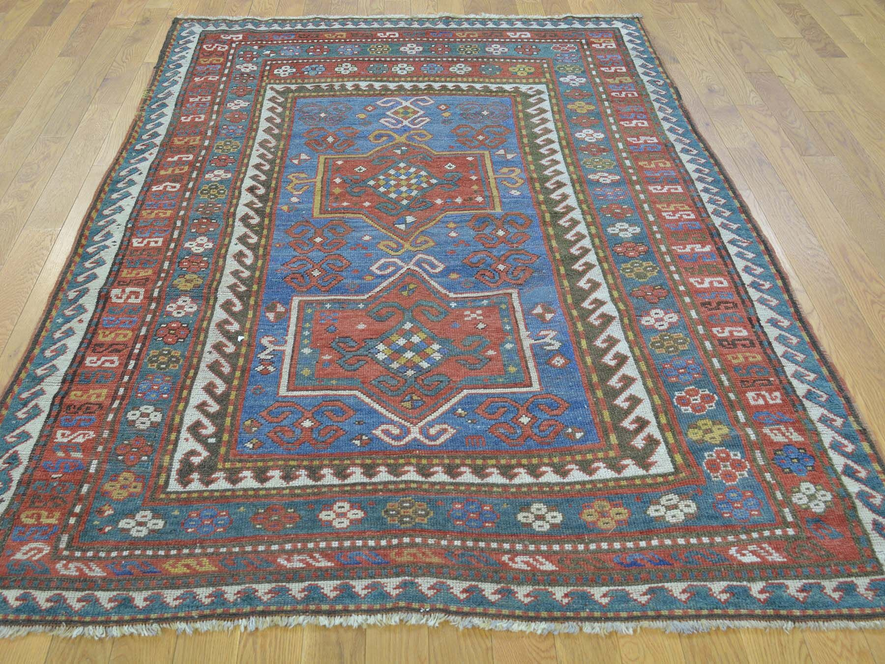 One-of-a-Kind Brandonville Antique Caucasian Karachopf Hand-Knotted Blue Wool Area Rug