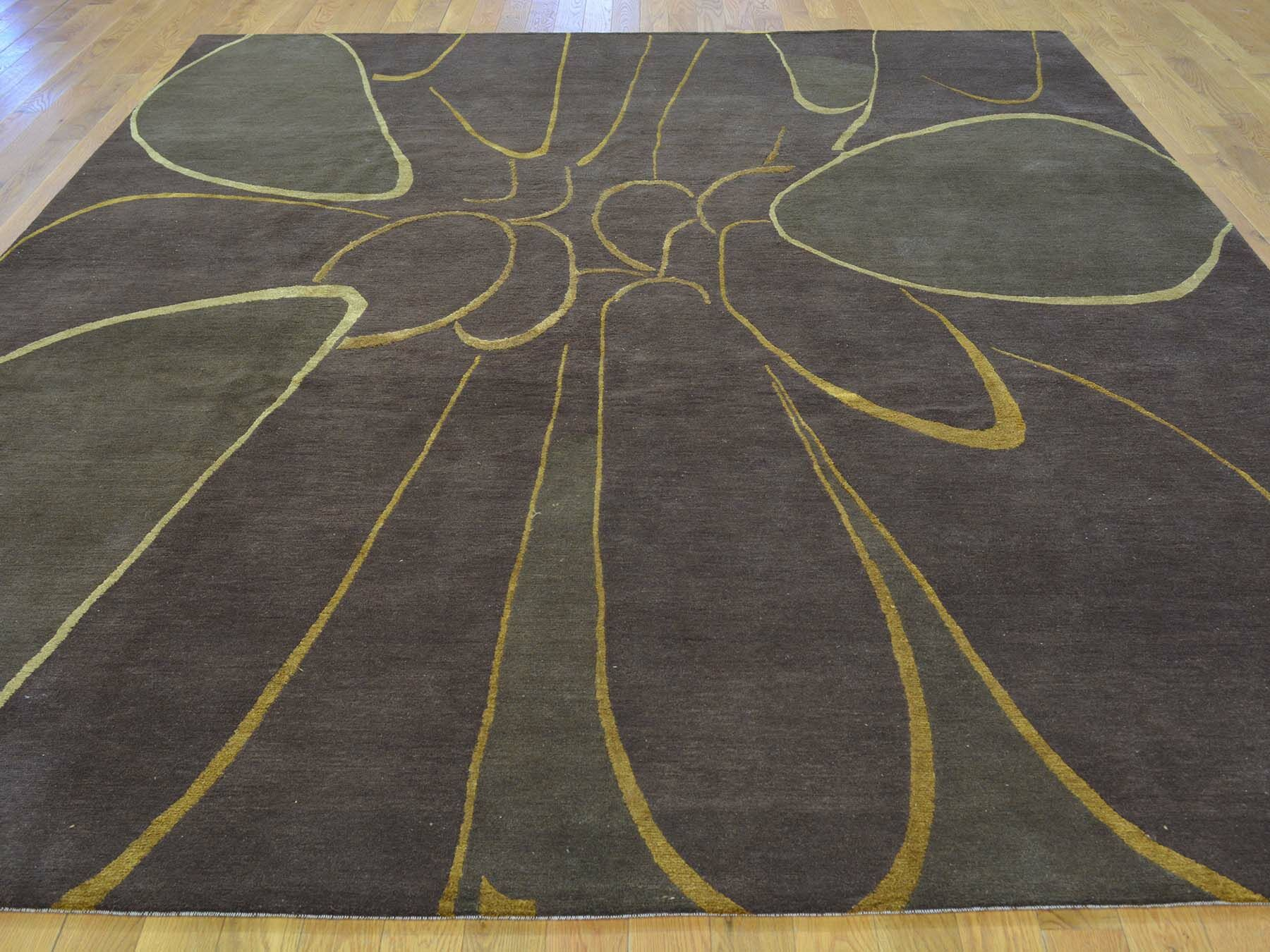 One-of-a-Kind Brandeis Hand-Knotted Brown Wool/Silk Area Rug