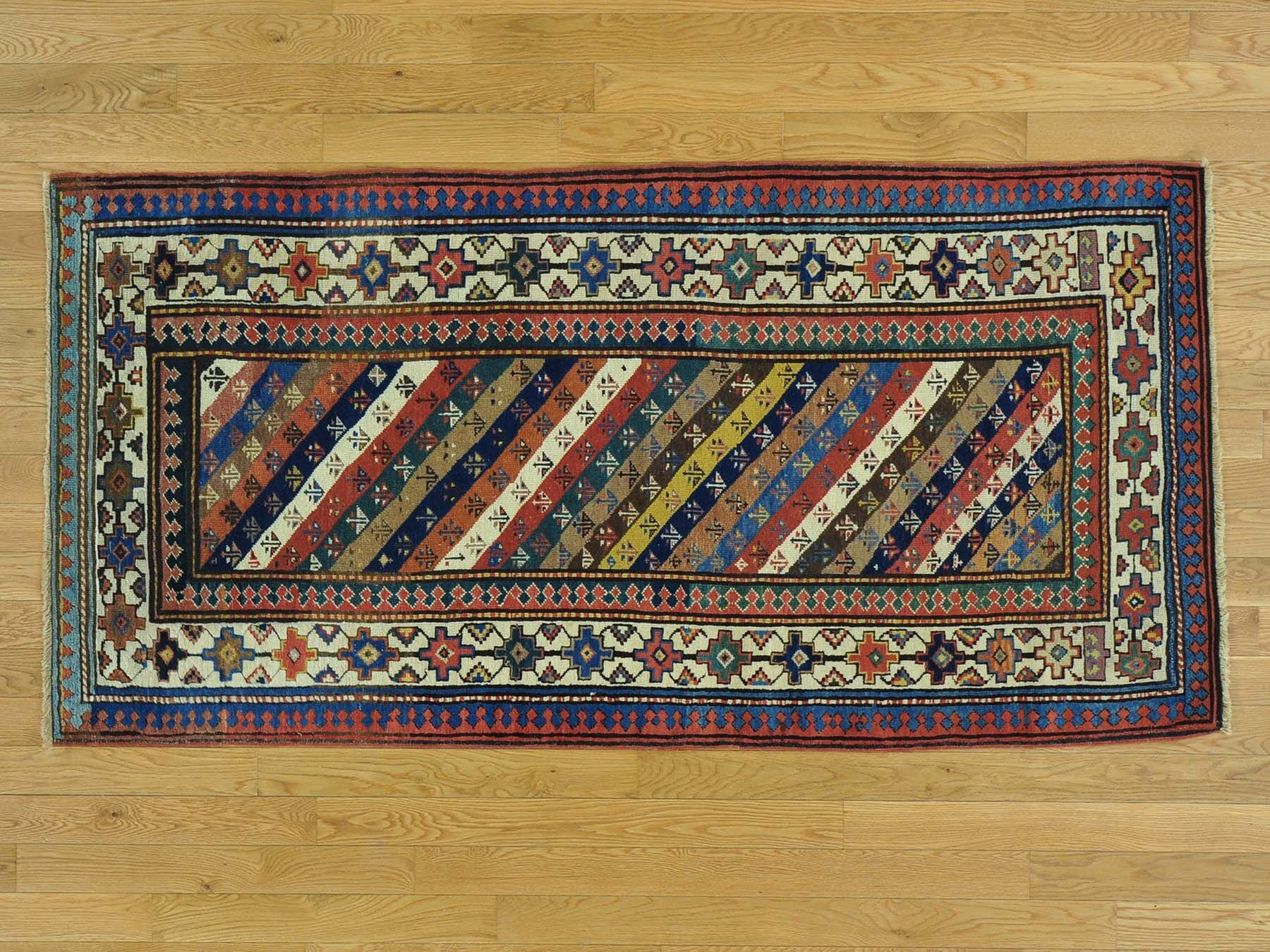 One-of-a-Kind Brandy Antique Caucasian Gendge Hand-Knotted Wool Area Rug